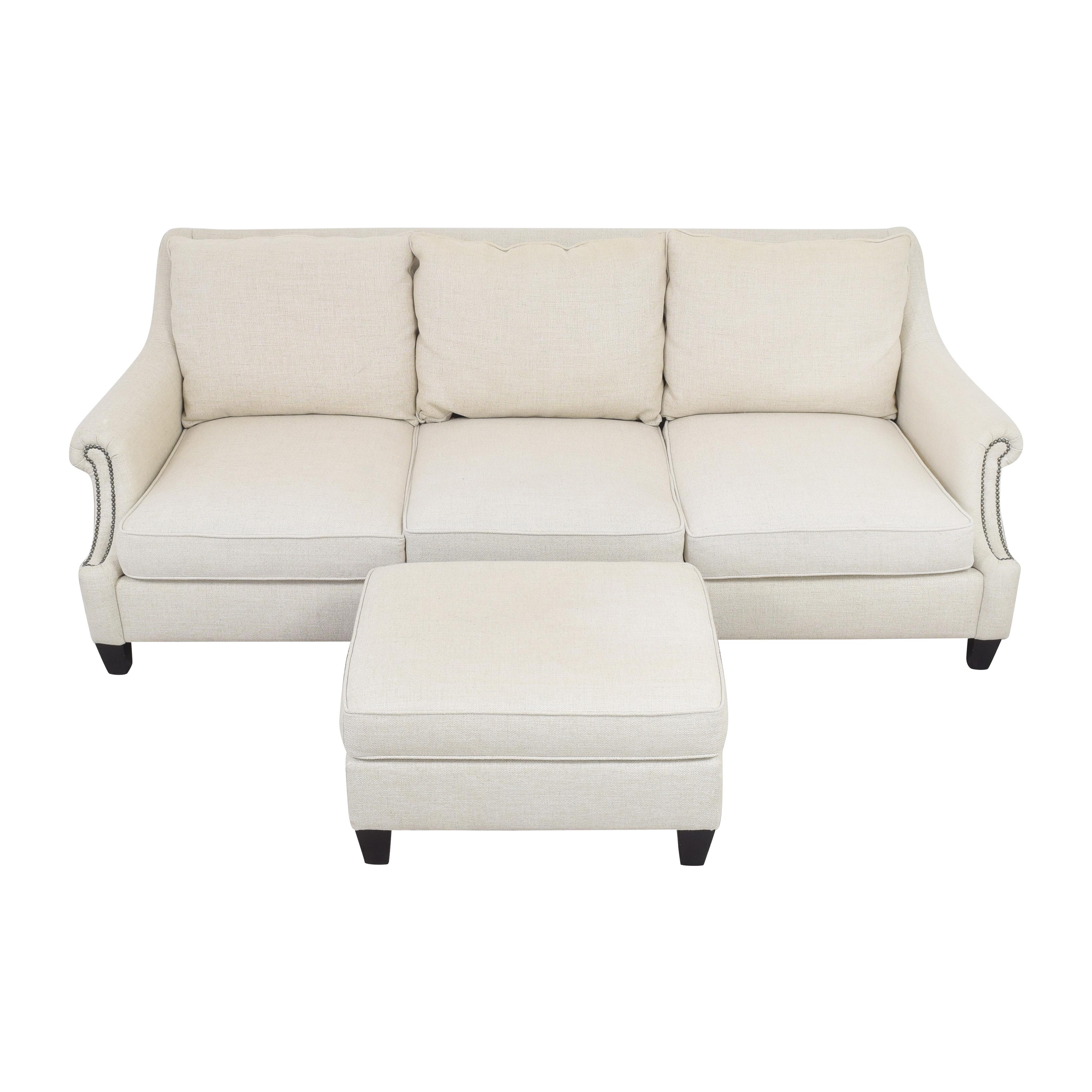 buy Raymour & Flanigan Three Cushion Sofa with Ottoman Raymour & Flanigan Sofas