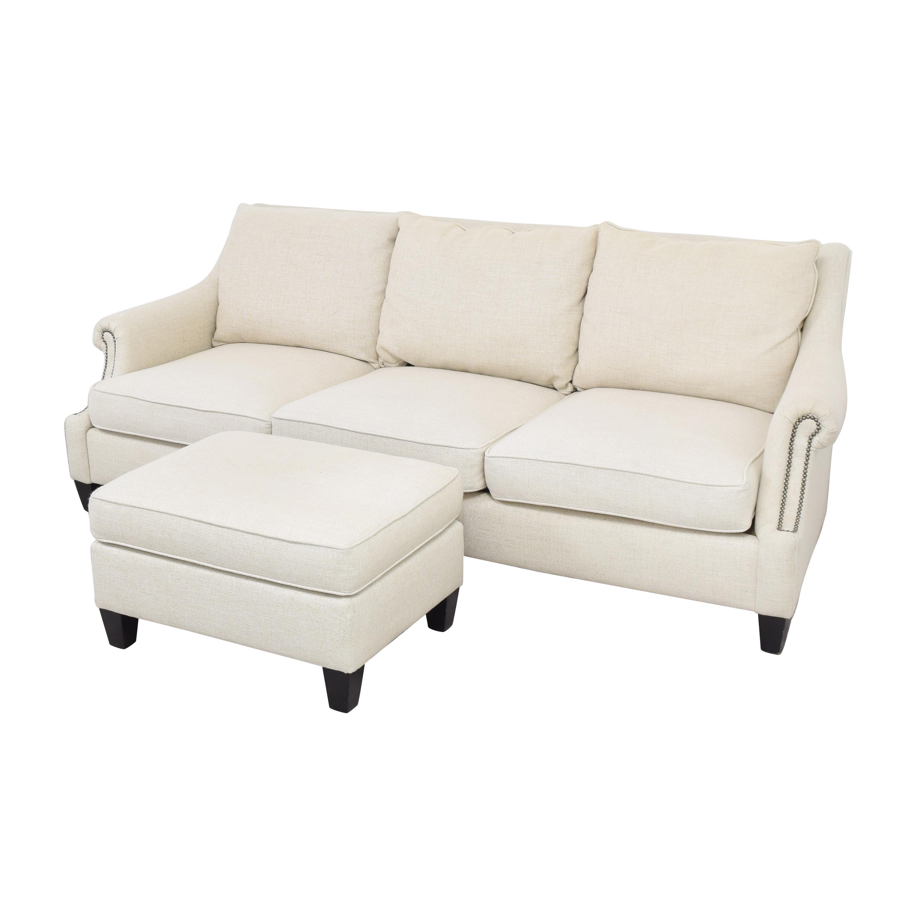 buy Raymour & Flanigan Three Cushion Sofa with Ottoman Raymour & Flanigan Classic Sofas