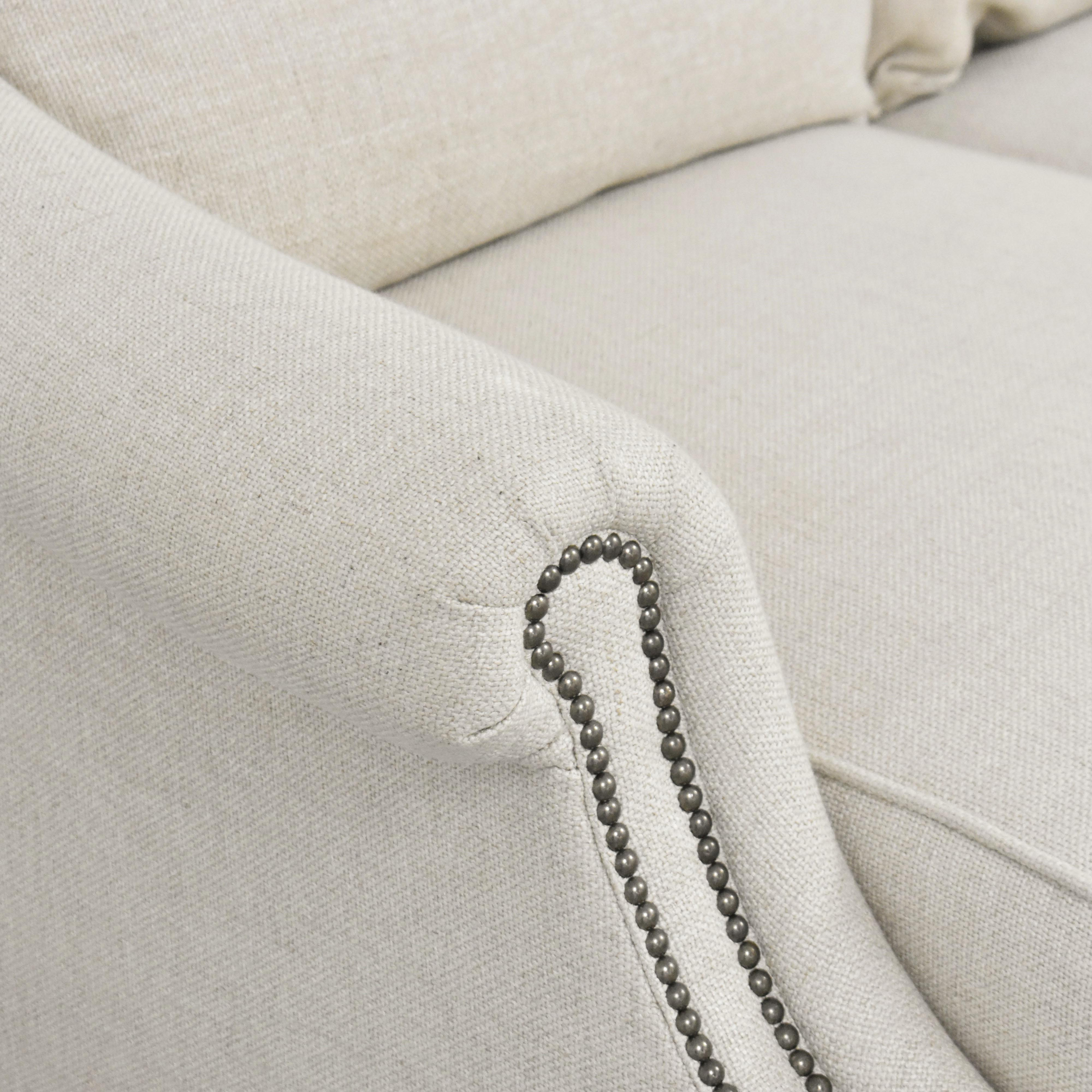 Raymour & Flanigan Three Cushion Sofa with Ottoman Raymour & Flanigan