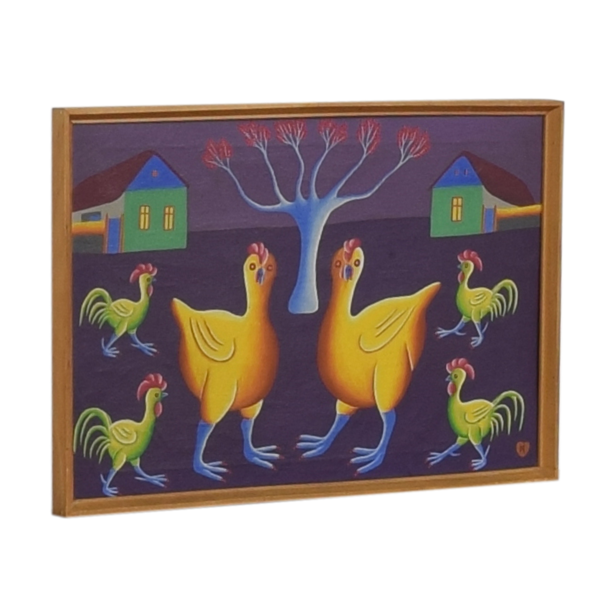 Jan Knjazovic Framed Chicken Painting for sale