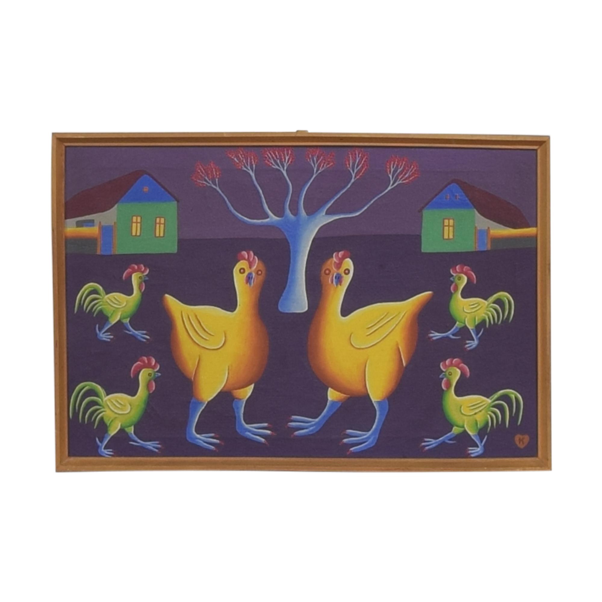 shop Jan Knjazovic Framed Chicken Painting  Decor