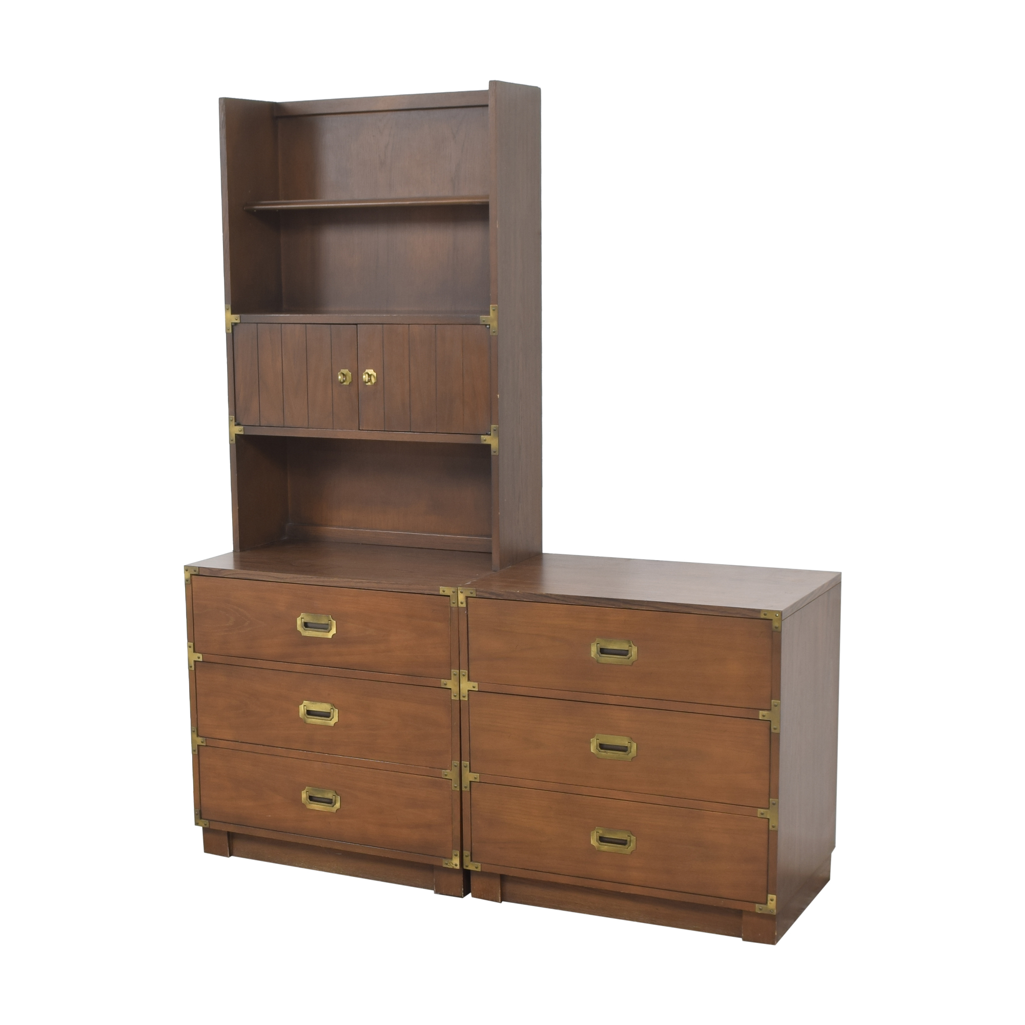 Drexel Firstmate Three Drawer Dressers with Hutch / Dressers