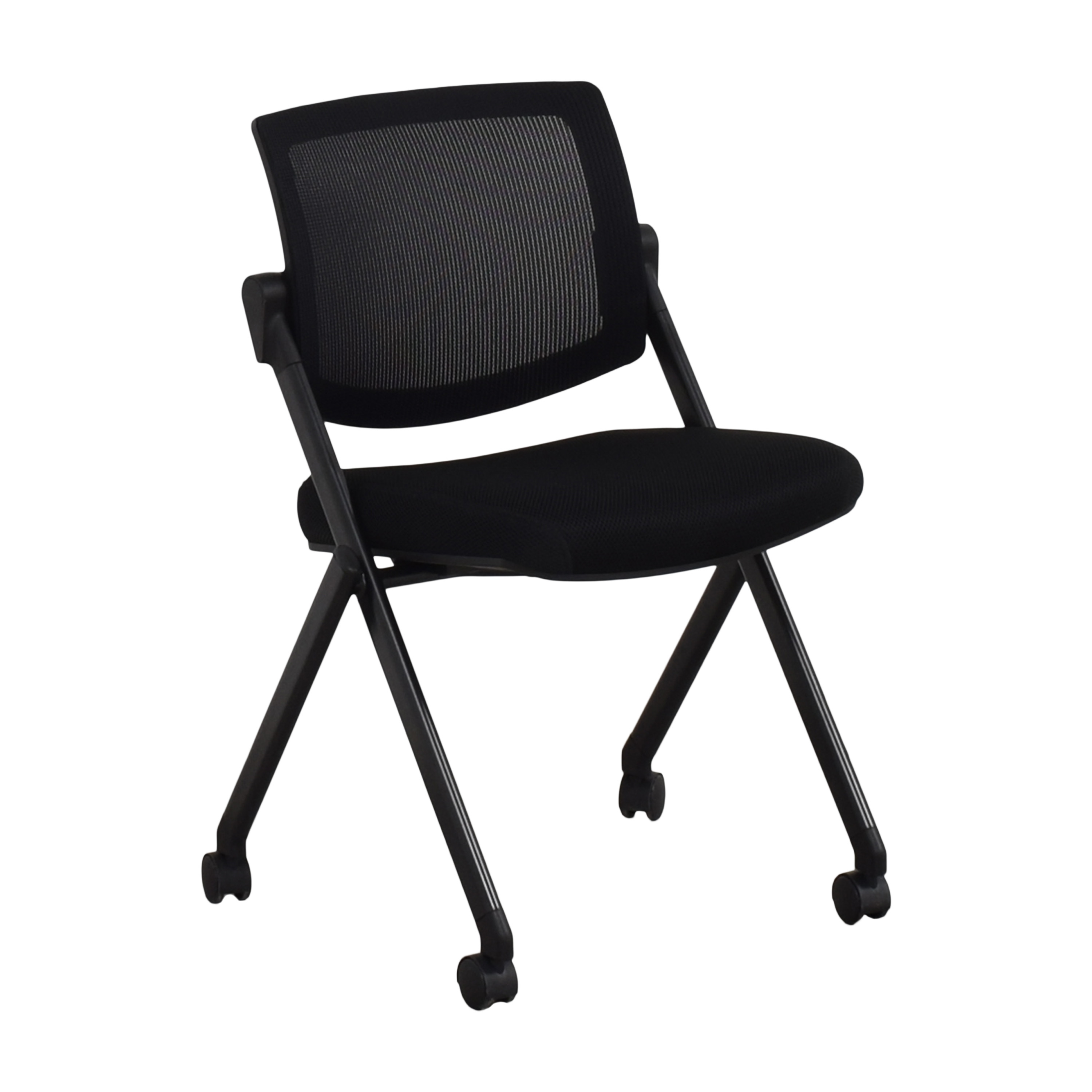 Offices to Go Offices to Go Armless Mesh Back Flip Seat Nesting Chair black