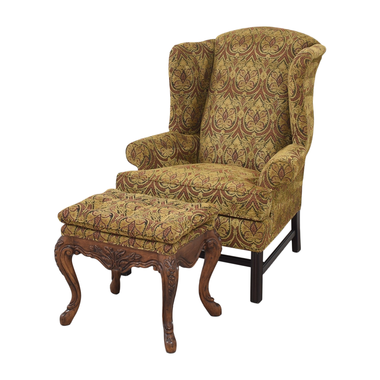 Kravet Kravet Wing Chair with Ottoman