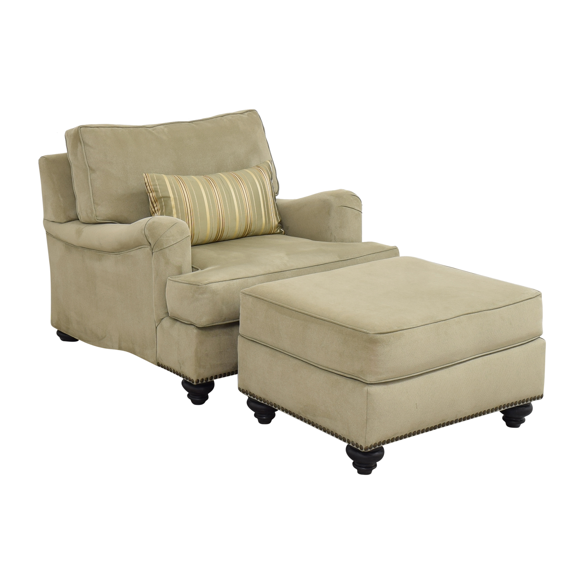 Nailhead Accent Chair with Ottoman dimensions
