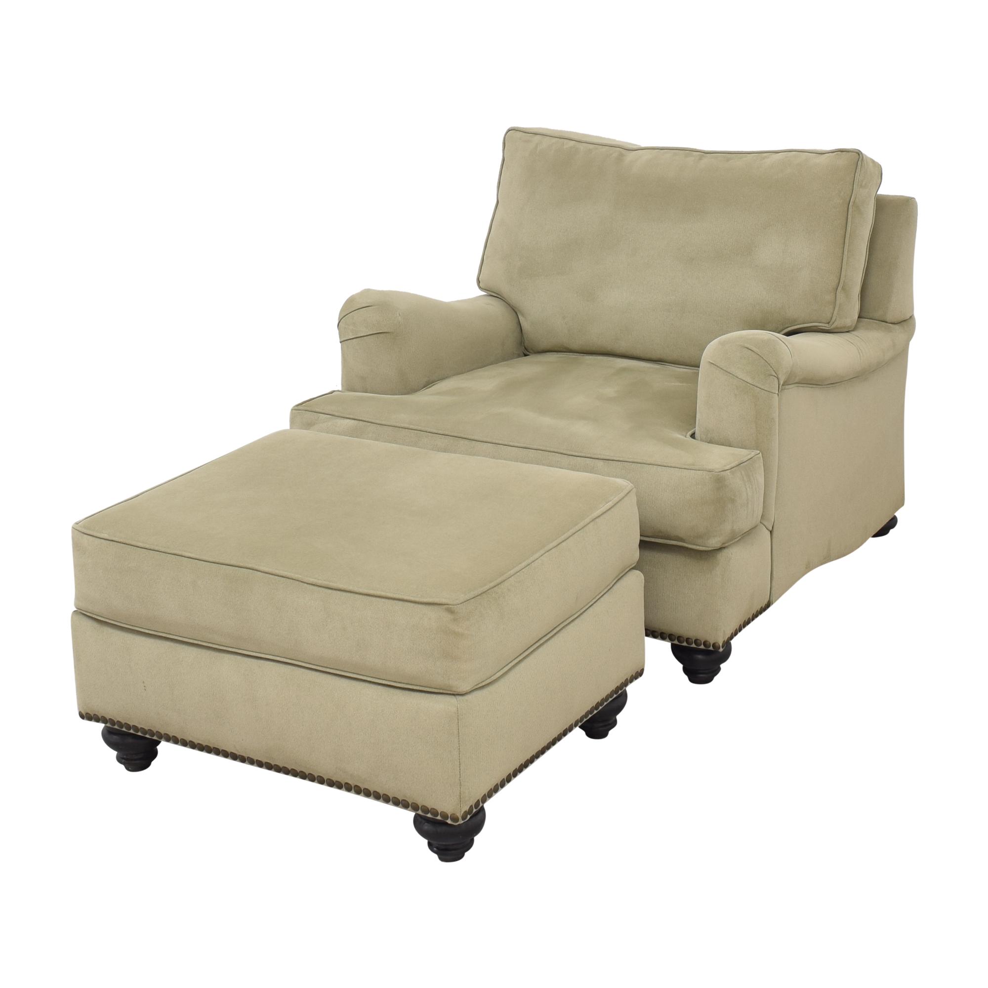 shop Nailhead Accent Chair with Ottoman