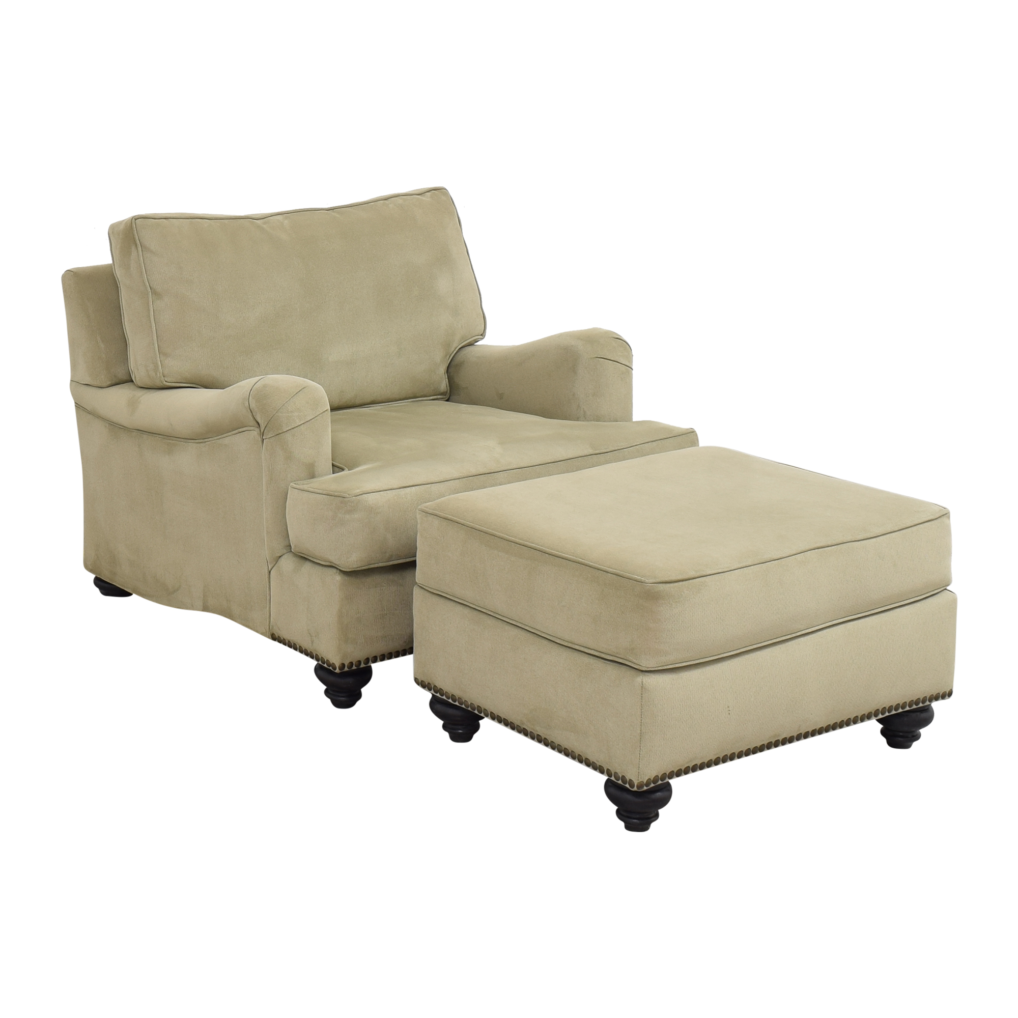 Nailhead Accent Chair with Ottoman used