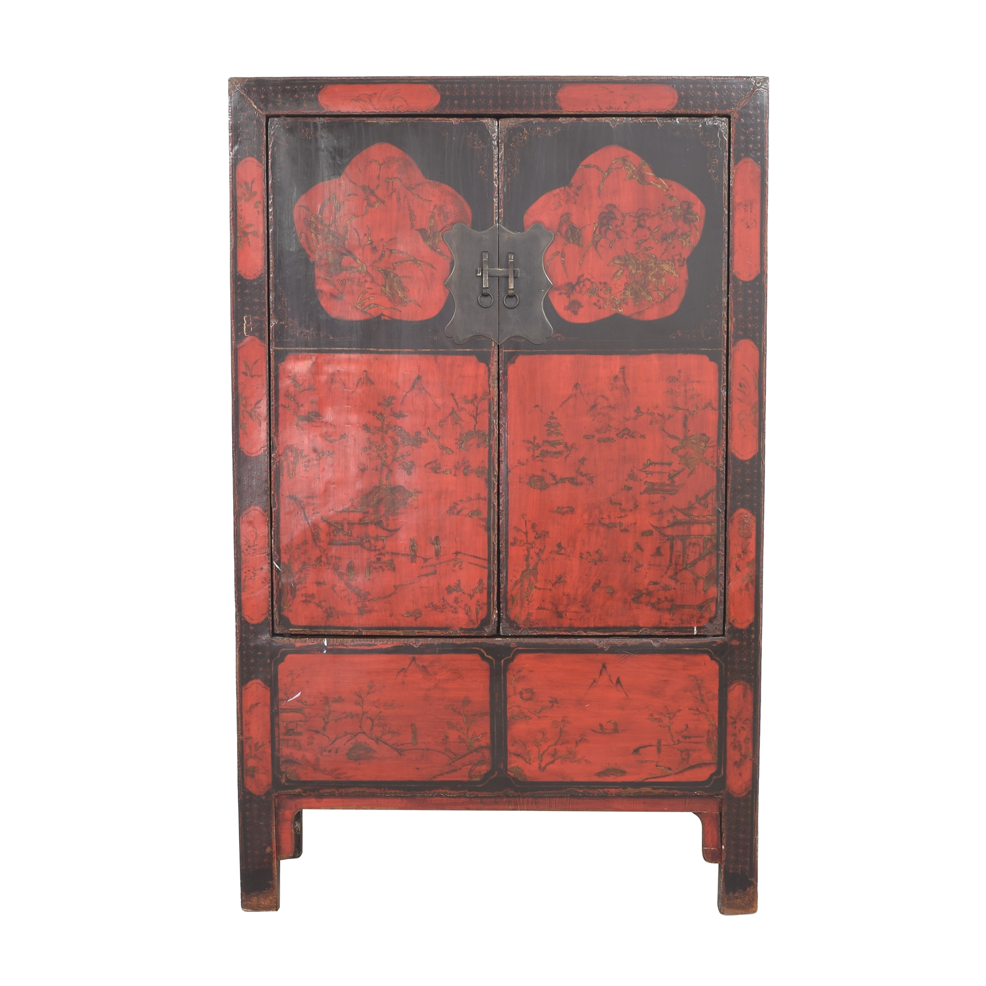 Antique Chinese Lacquered Armoire discount