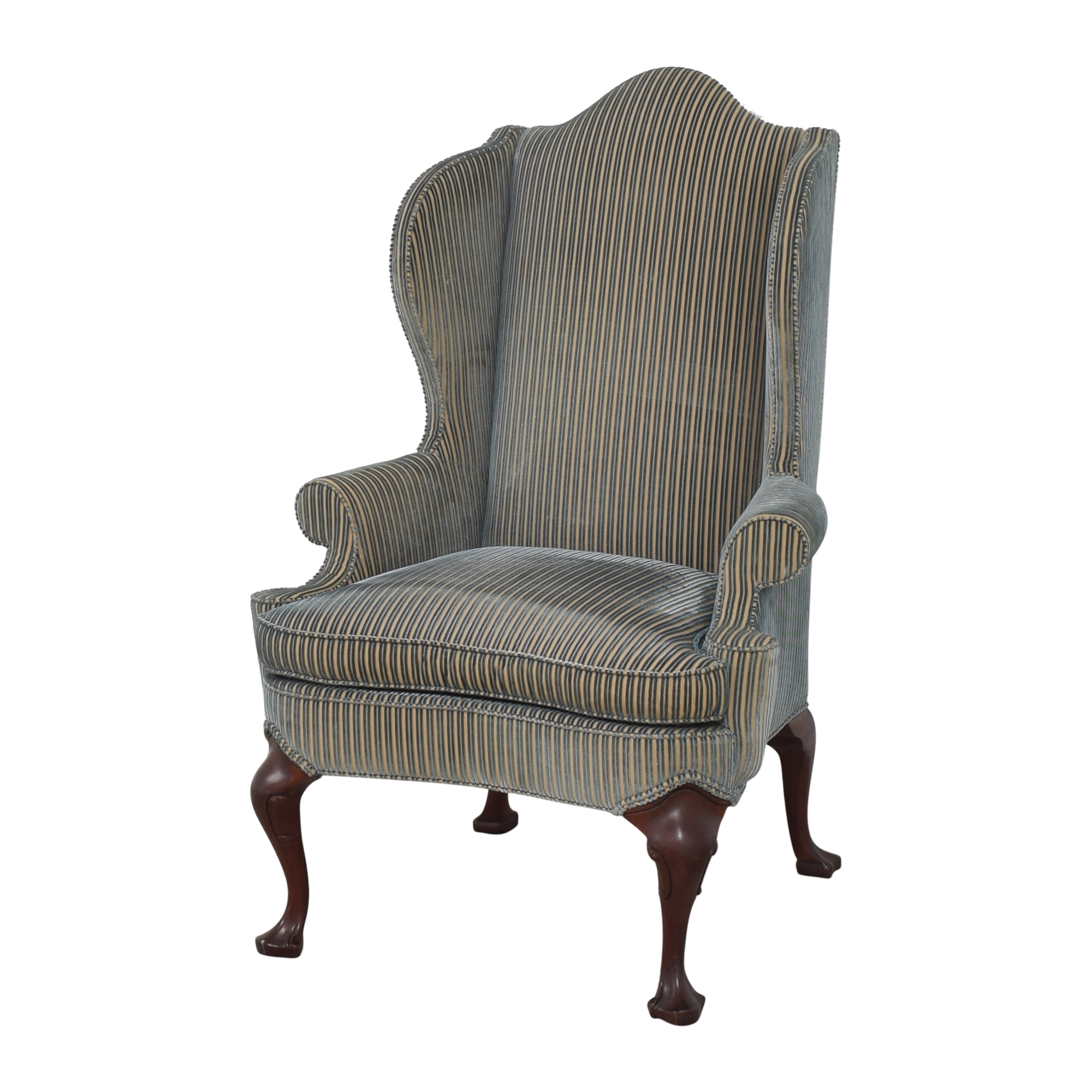 Hickory Chair Stripe Wing Back Chair / Accent Chairs