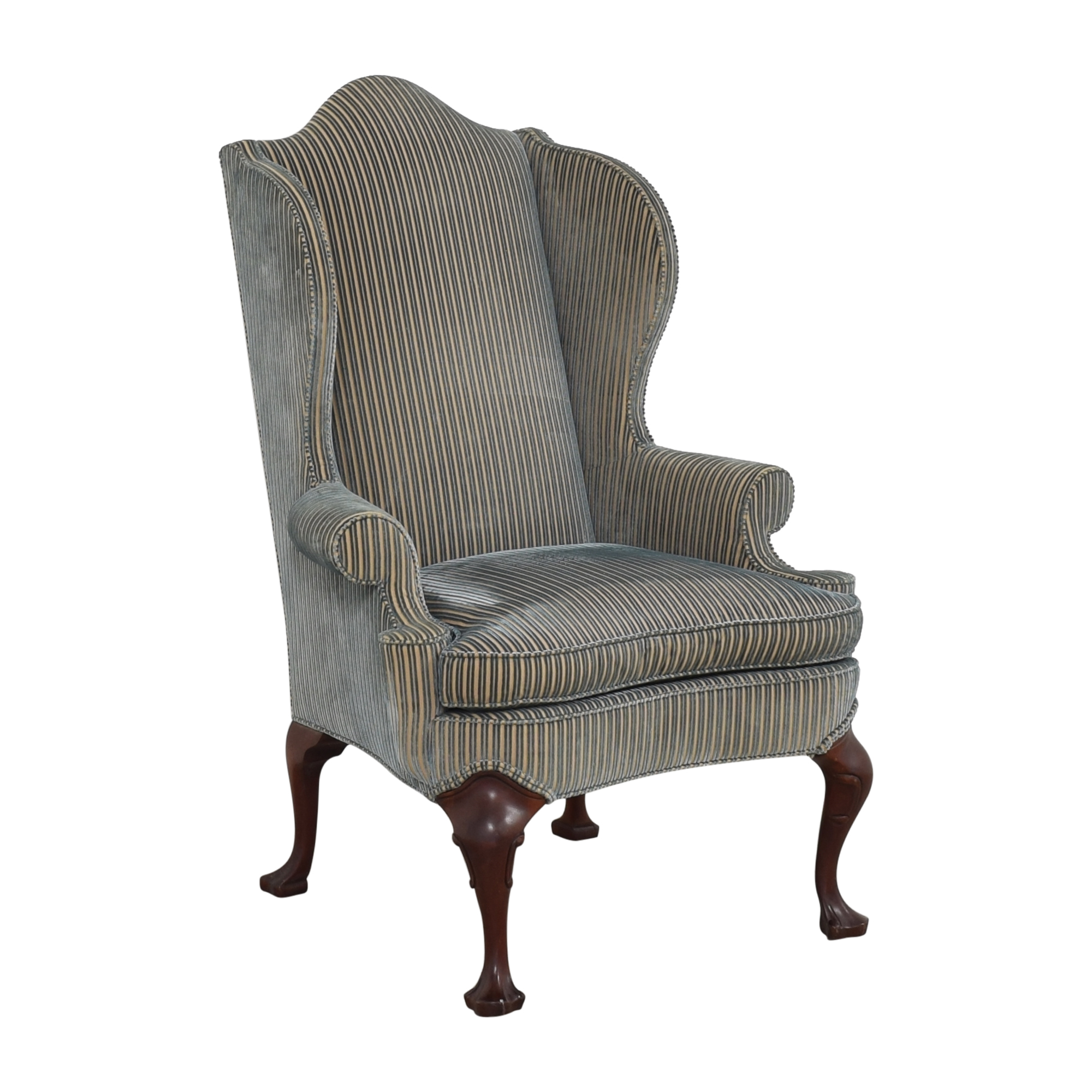 Hickory Chair Stripe Wing Back Chair sale