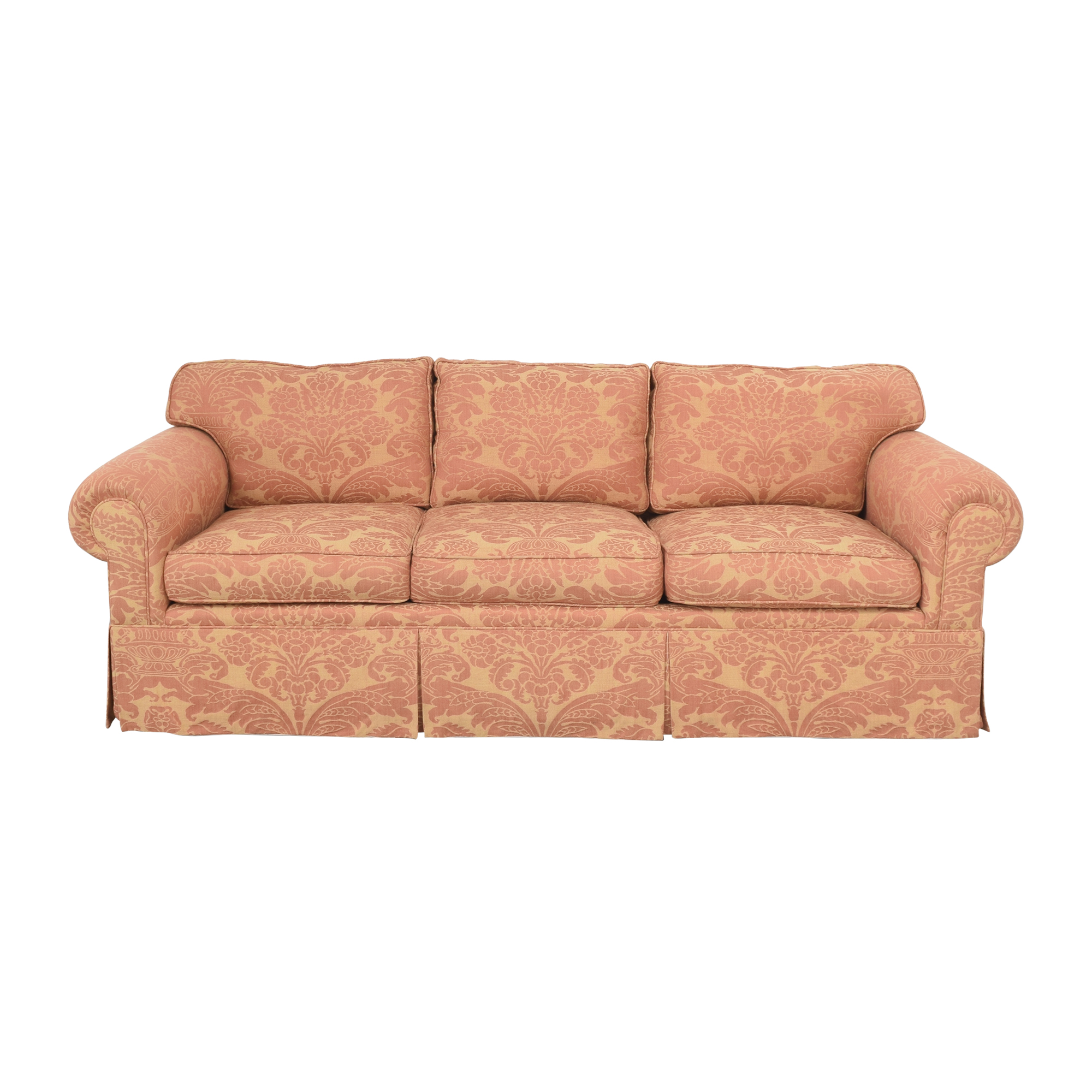 Roll Arm Skirted Sofa pinky & beige