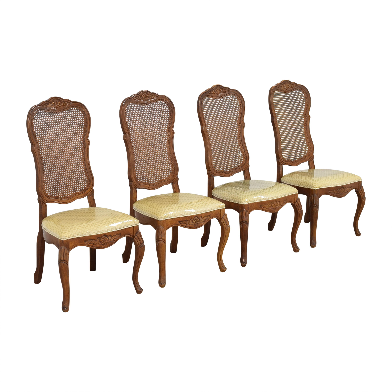 Bernhardt Bernhardt Cane Back Dining Chairs brown & yellow
