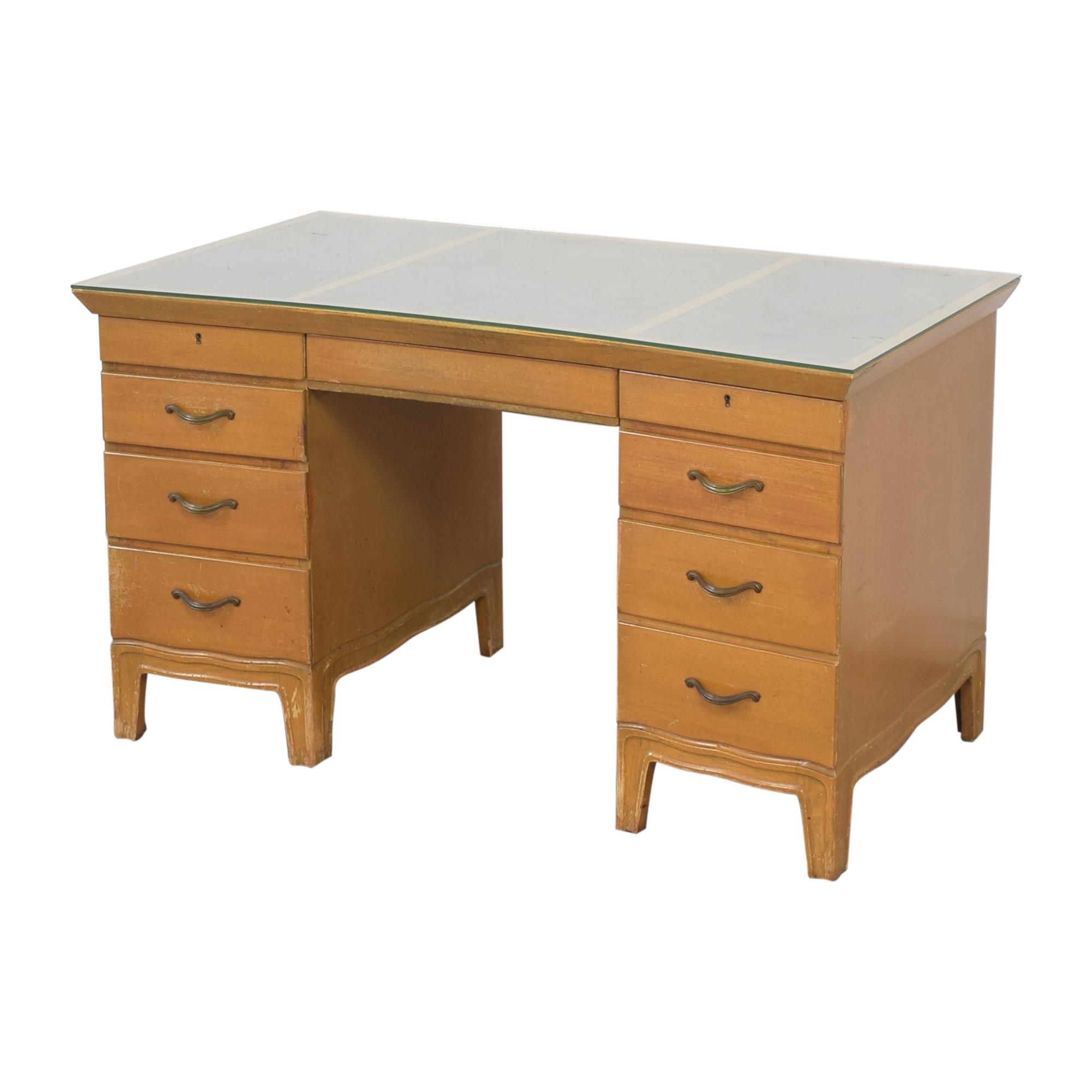 shop Tomlinson Vintage Double Pedestal Desk Tomlinson