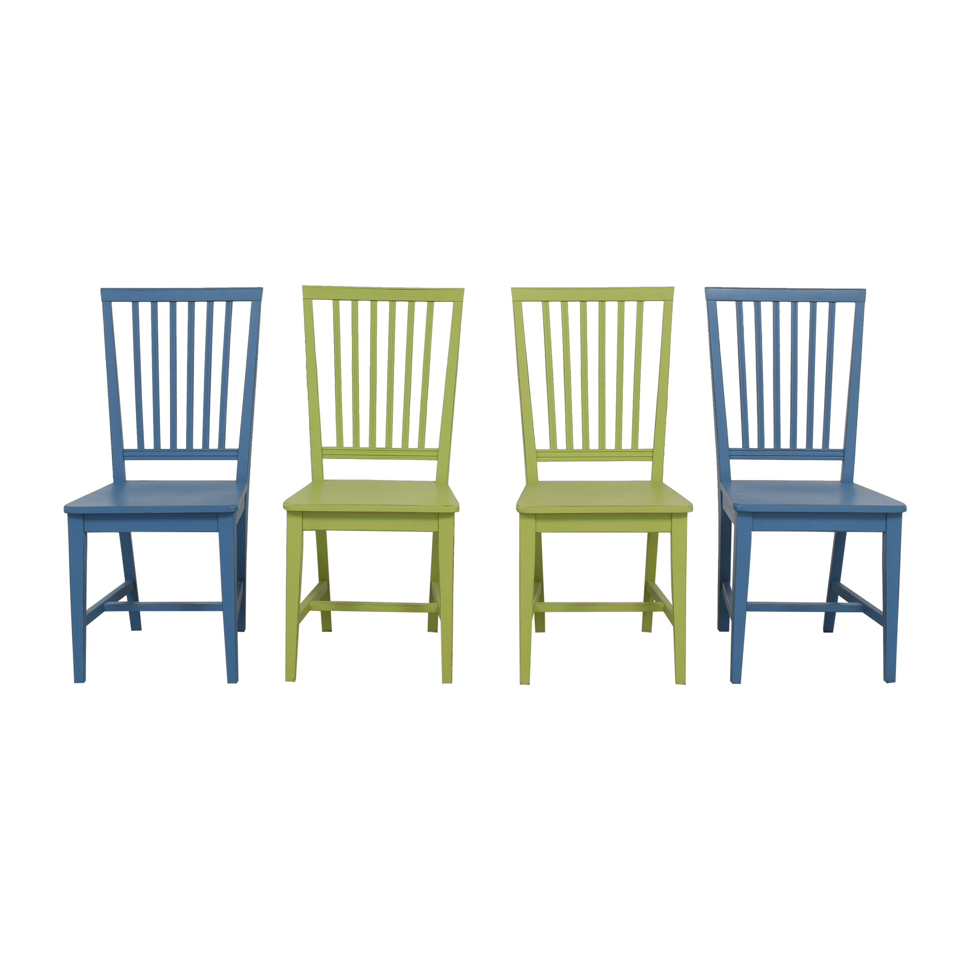 Crate & Barrel Crate & Barrel Village Dining Chairs blue & green