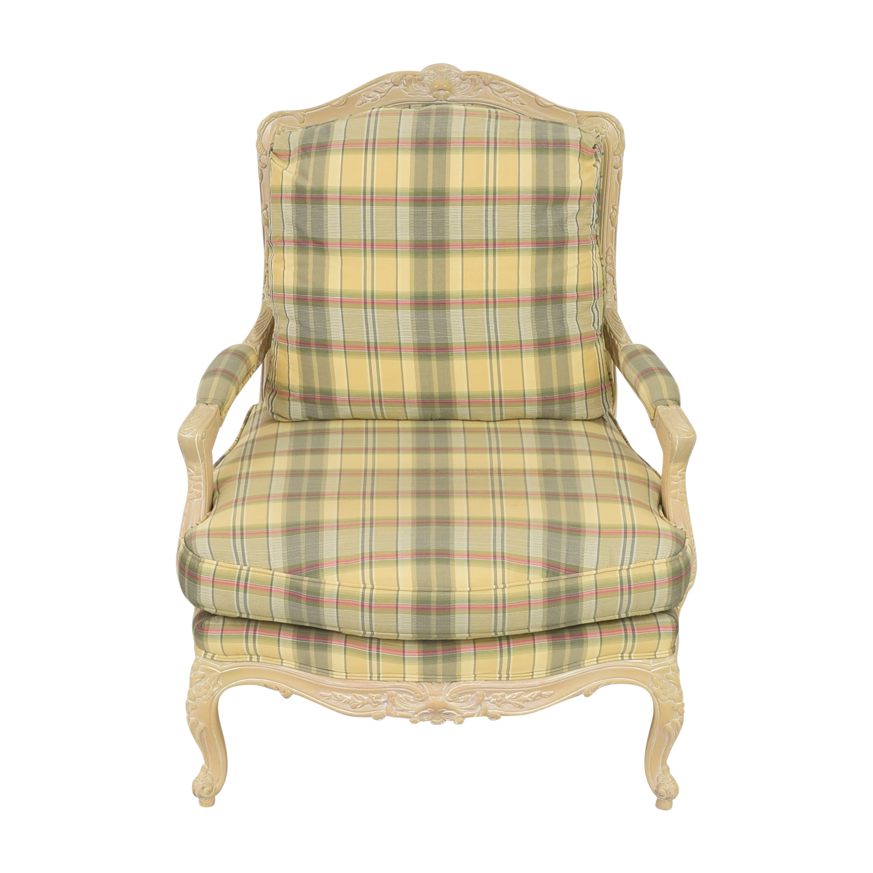 shop Sherrill Furniture Plaid Carved Chair Sherrill Furniture