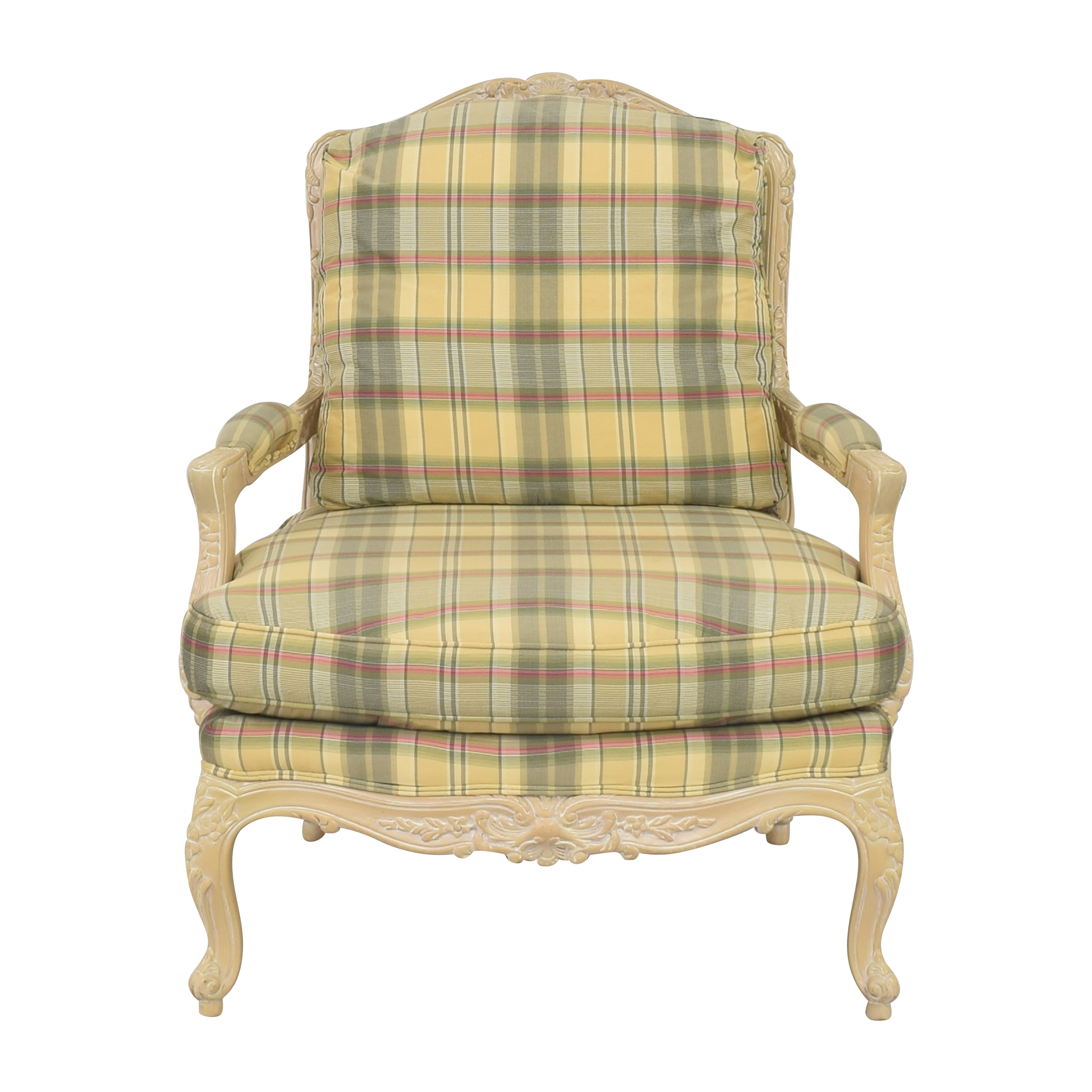 shop Sherrill Furniture Plaid Carved Chair Sherrill Furniture Accent Chairs