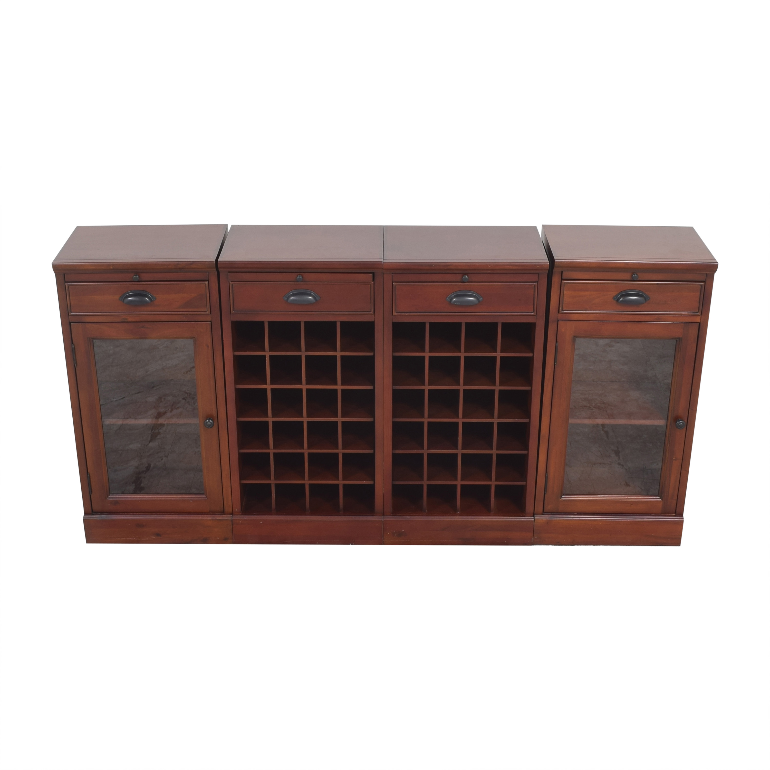 shop Pottery Barn Modular Buffet with Double Wine Grid Pottery Barn Cabinets & Sideboards