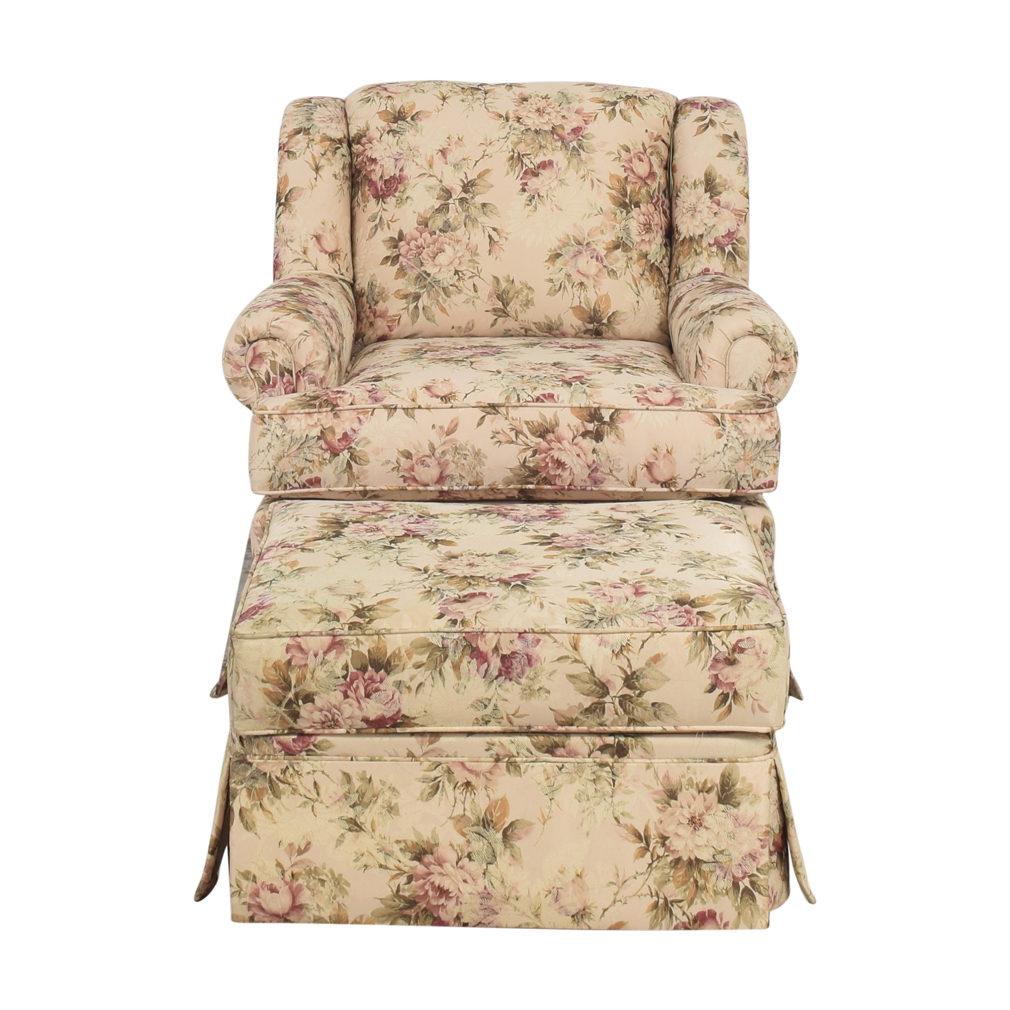 England Furniture Floral Accent Chair with Ottoman England Furniture