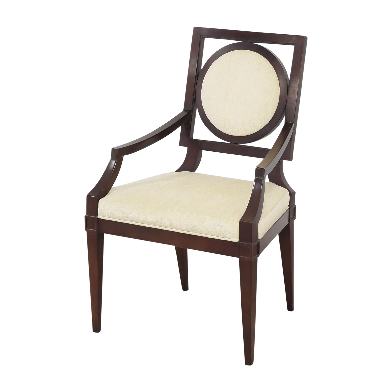 Baker Furniture Baker Louis Dining Arm Chairs dark brown & beige