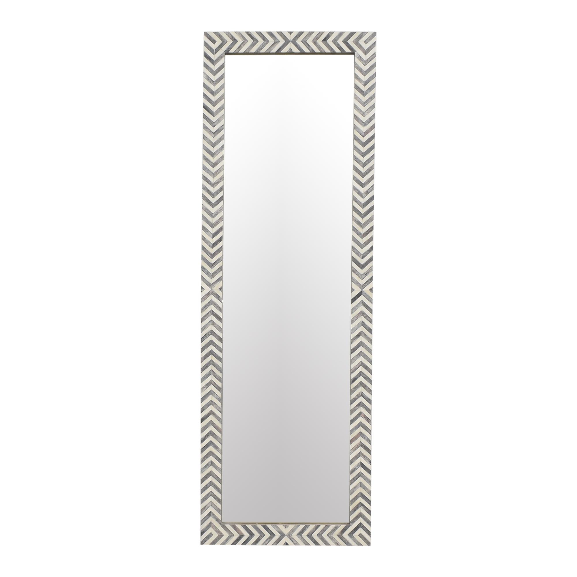 West Elm West Elm Parsons Herringbone Floor Mirror grey & white