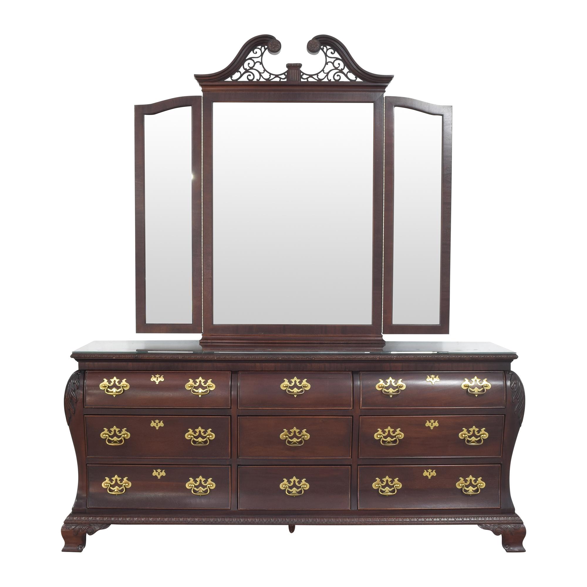 Century Furniture Century Triple Bombe Dresser and Mirror second hand