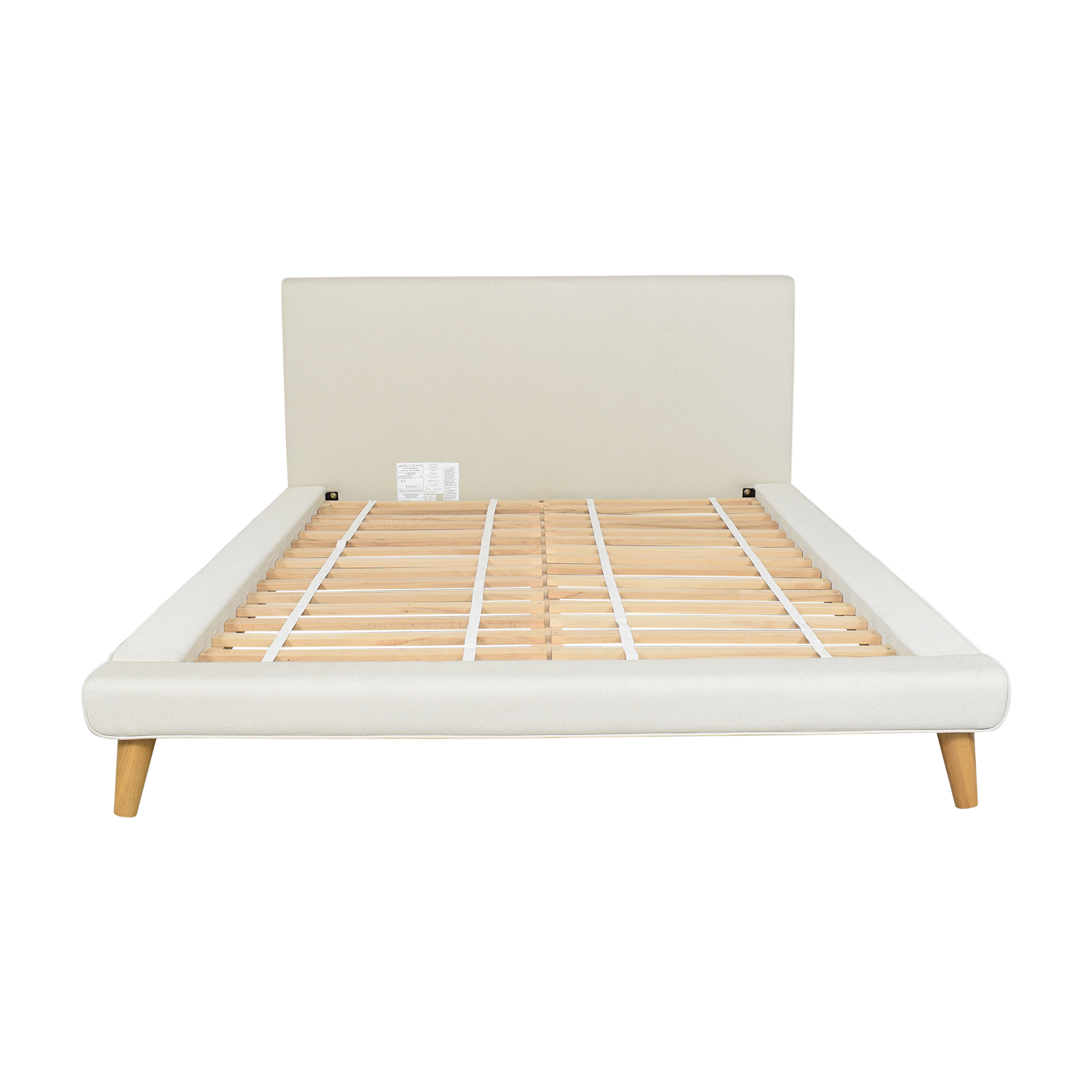 West Elm West Elm Mod Upholstered Queen Platform Bed beige