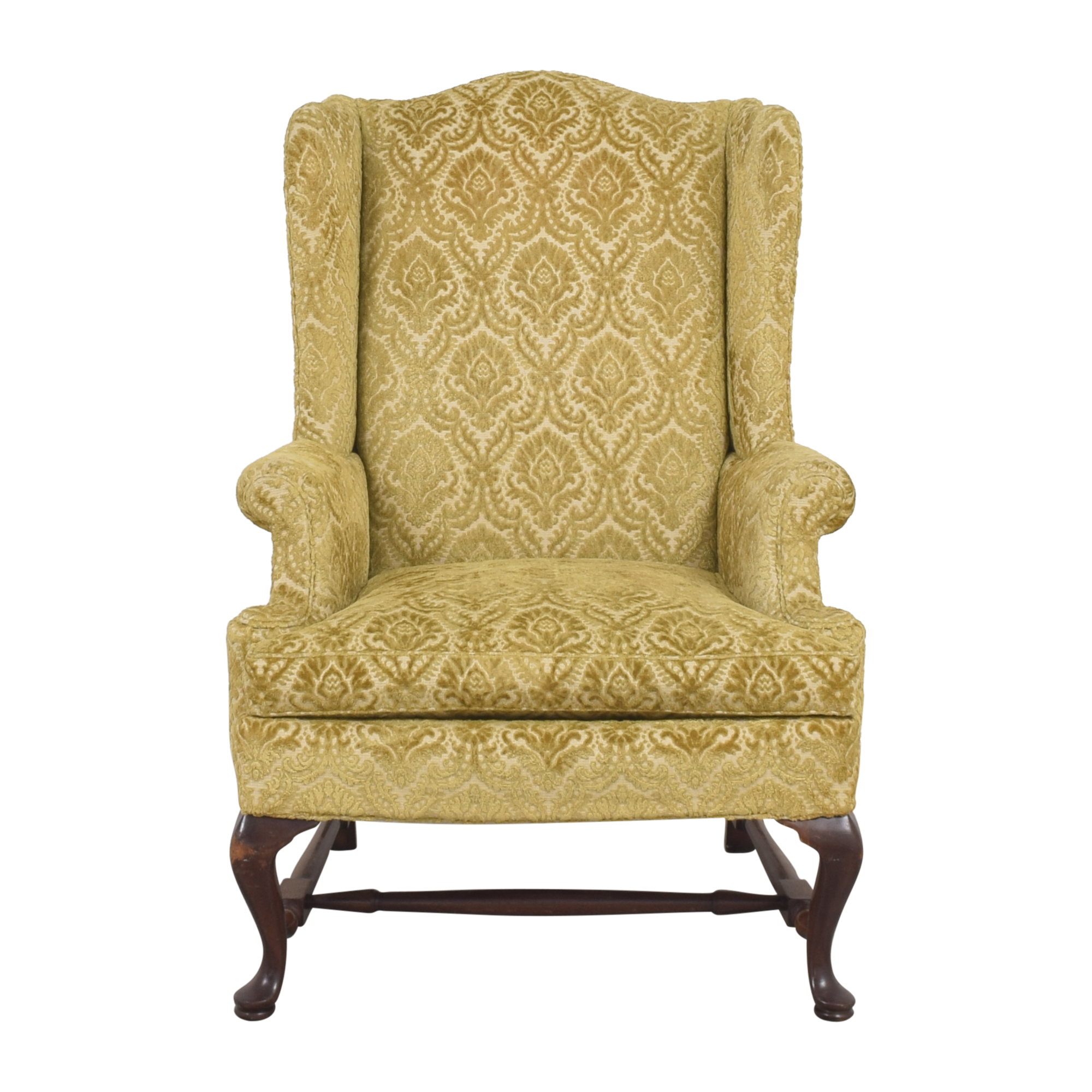 Hickory Chair Hickory Chair Queen Anne Wing Back Chair yellow & brown