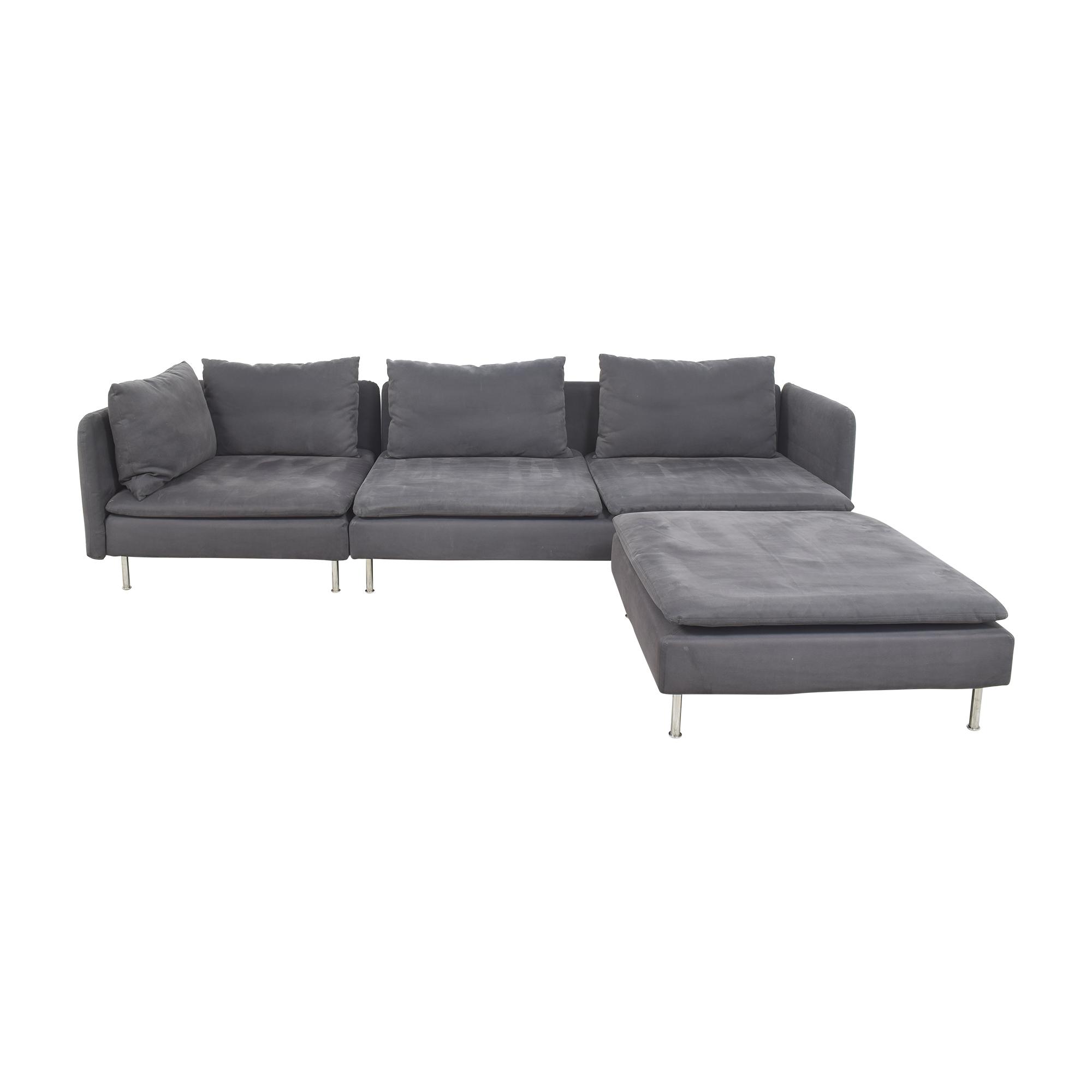 IKEA IKEA SÖDERHAMN Sectional Sofa with Ottoman dark grey