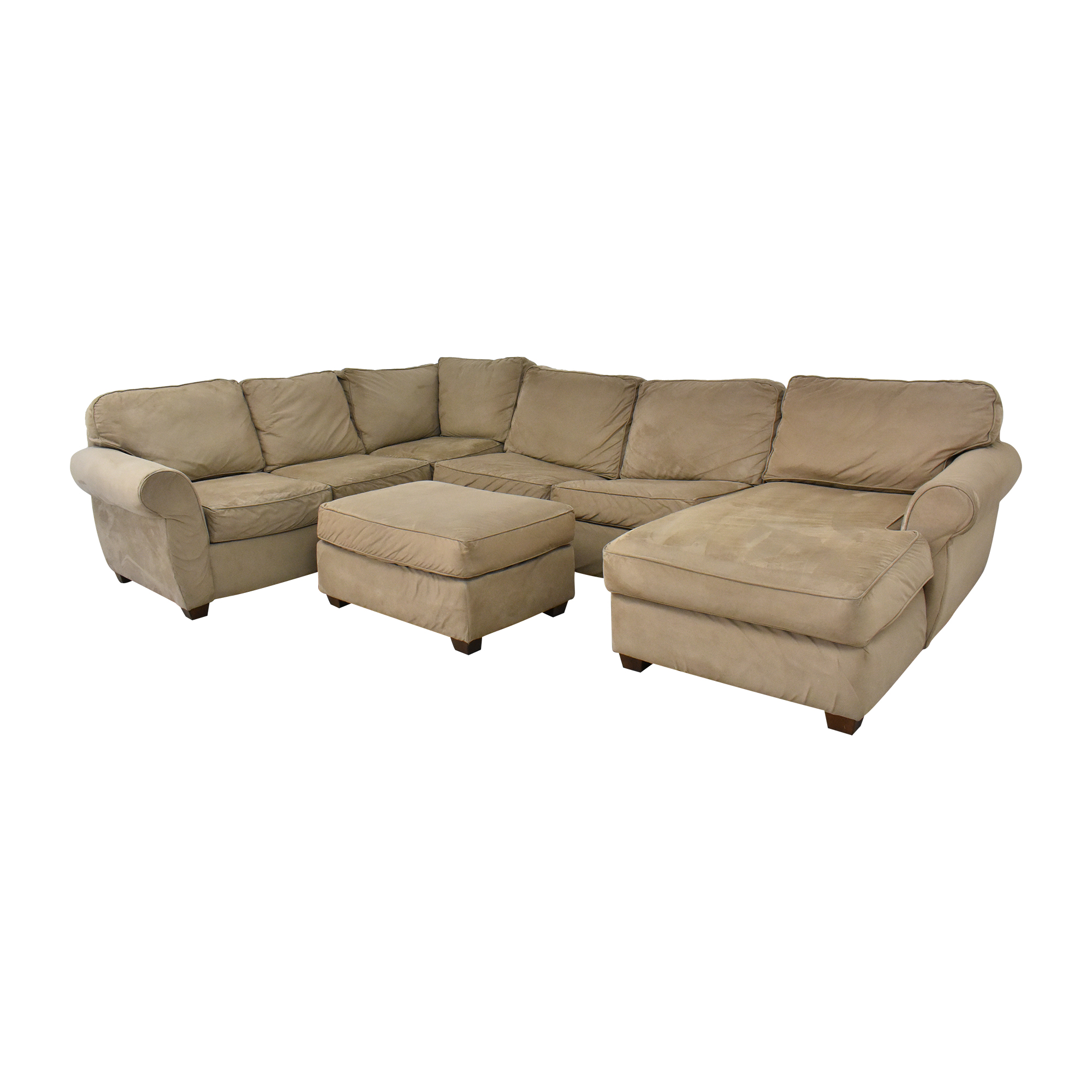 Macy's Macy's Chaise Sectional Sleeper Sofa with Ottoman for sale