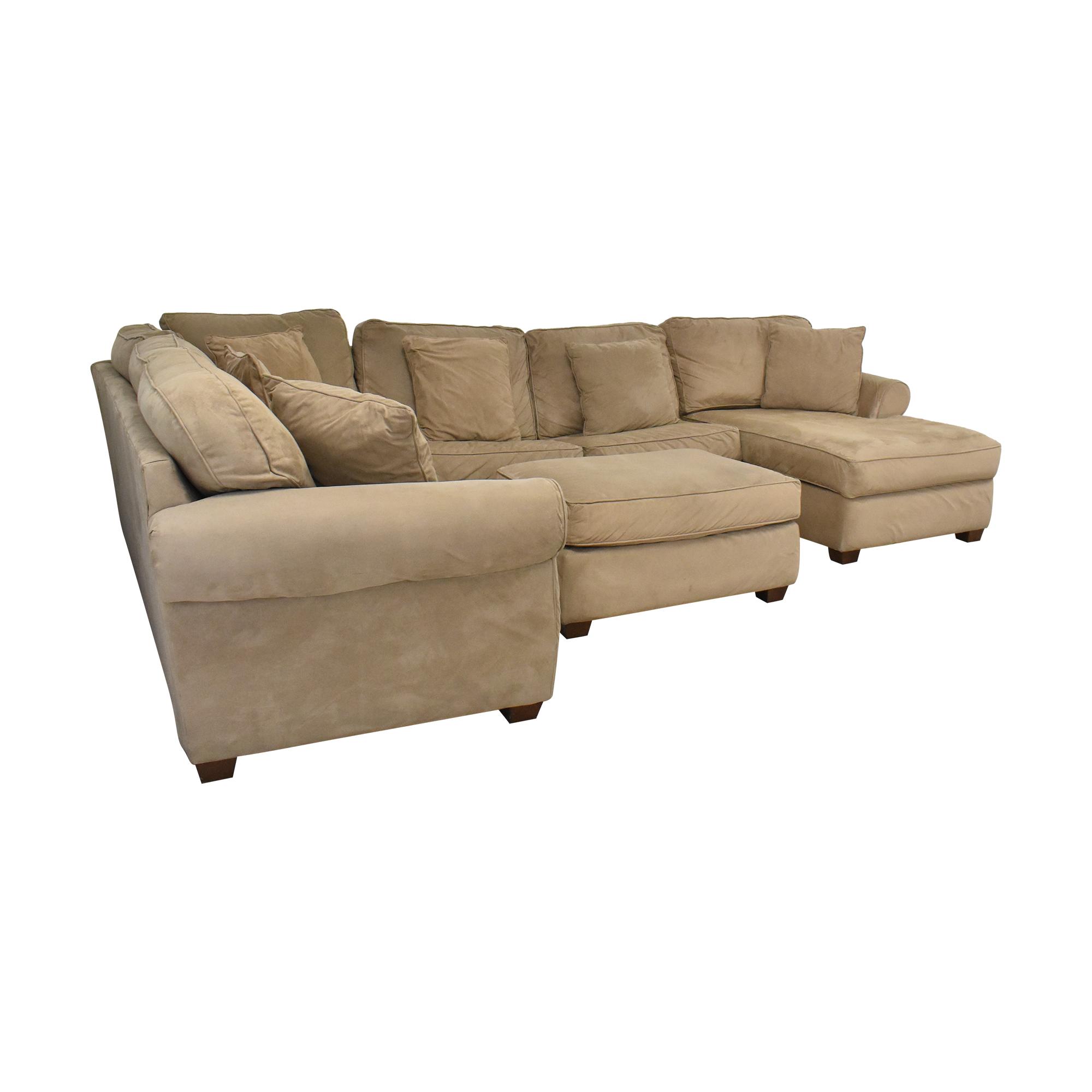 Macy's Macy's Chaise Sectional Sleeper Sofa with Ottoman light brown