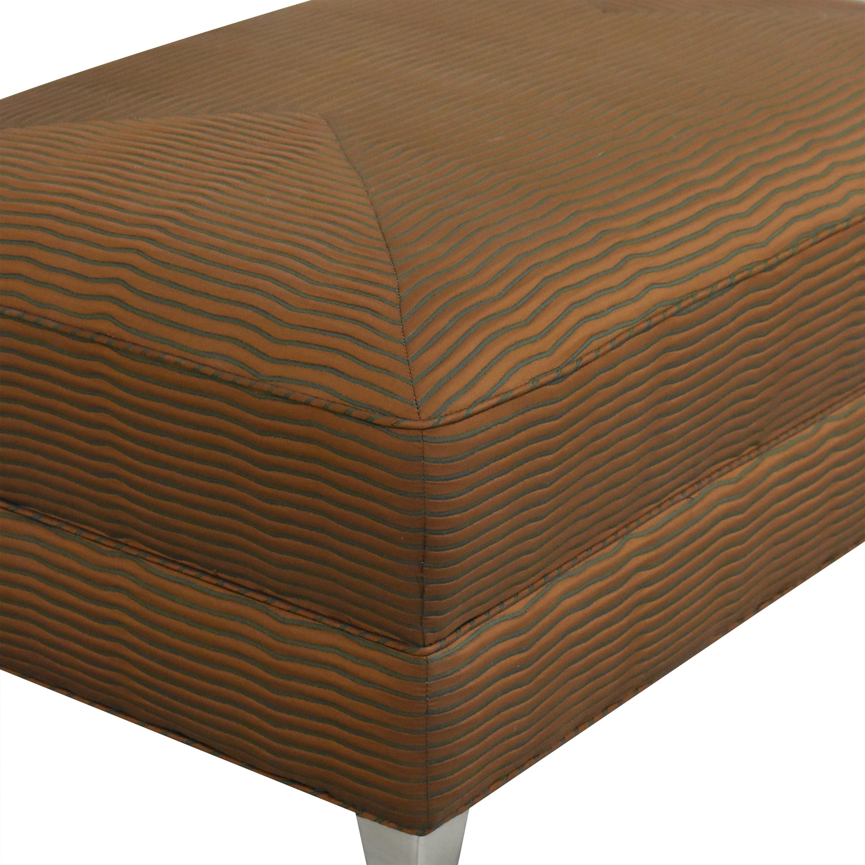 Stripe Upholstered Ottoman