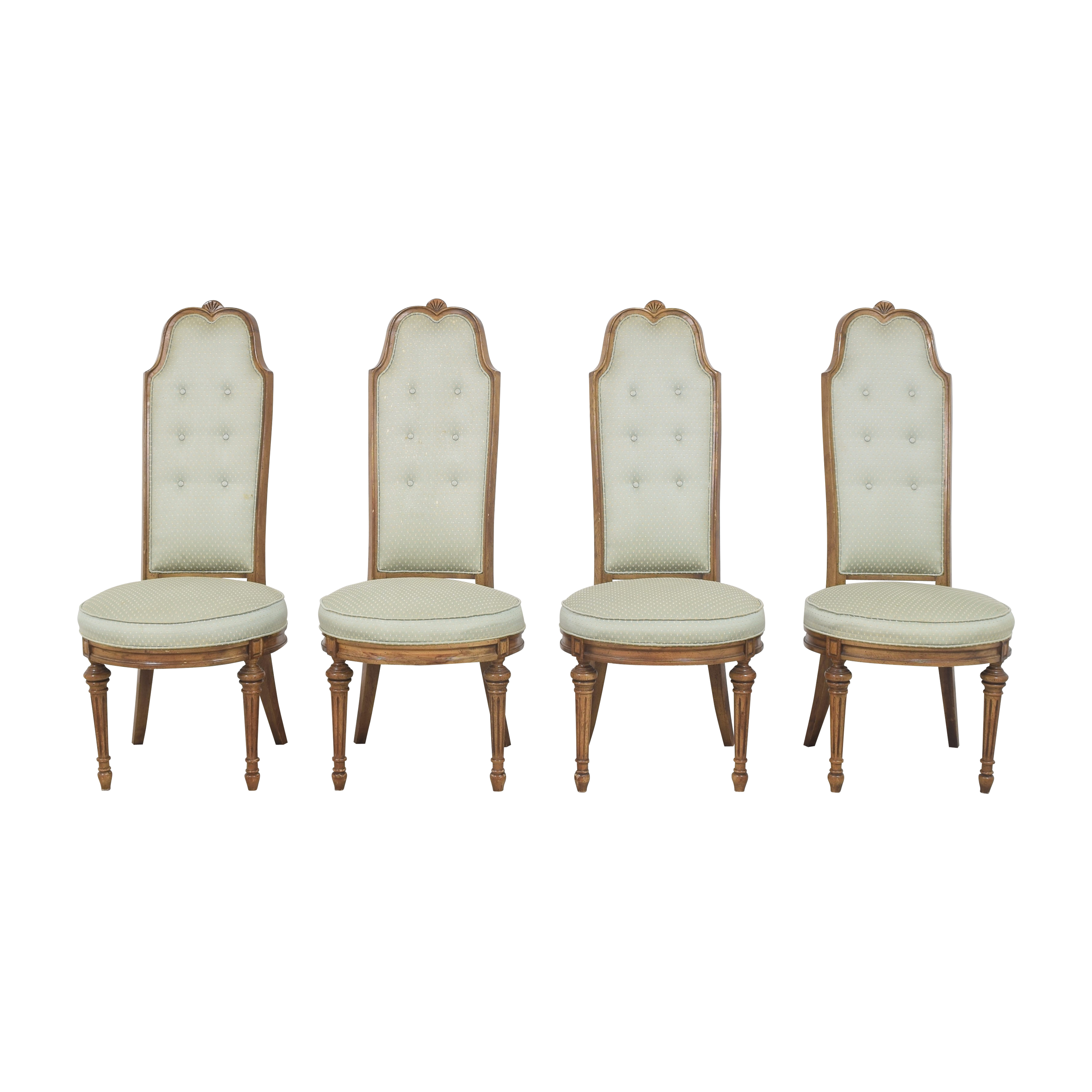 High Back Tufted Dining Chairs  green and gold