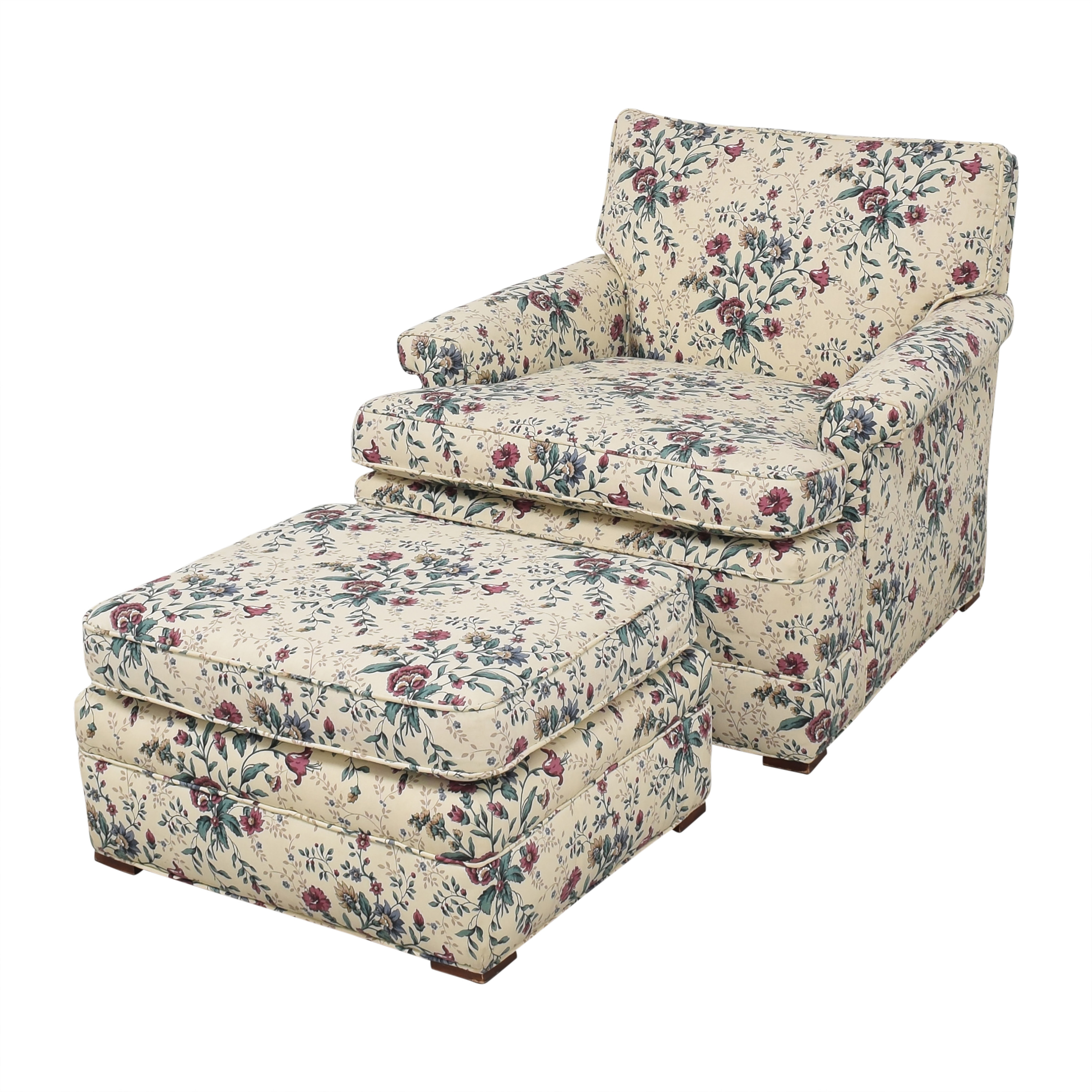 Floral Accent Chair with Ottoman for sale