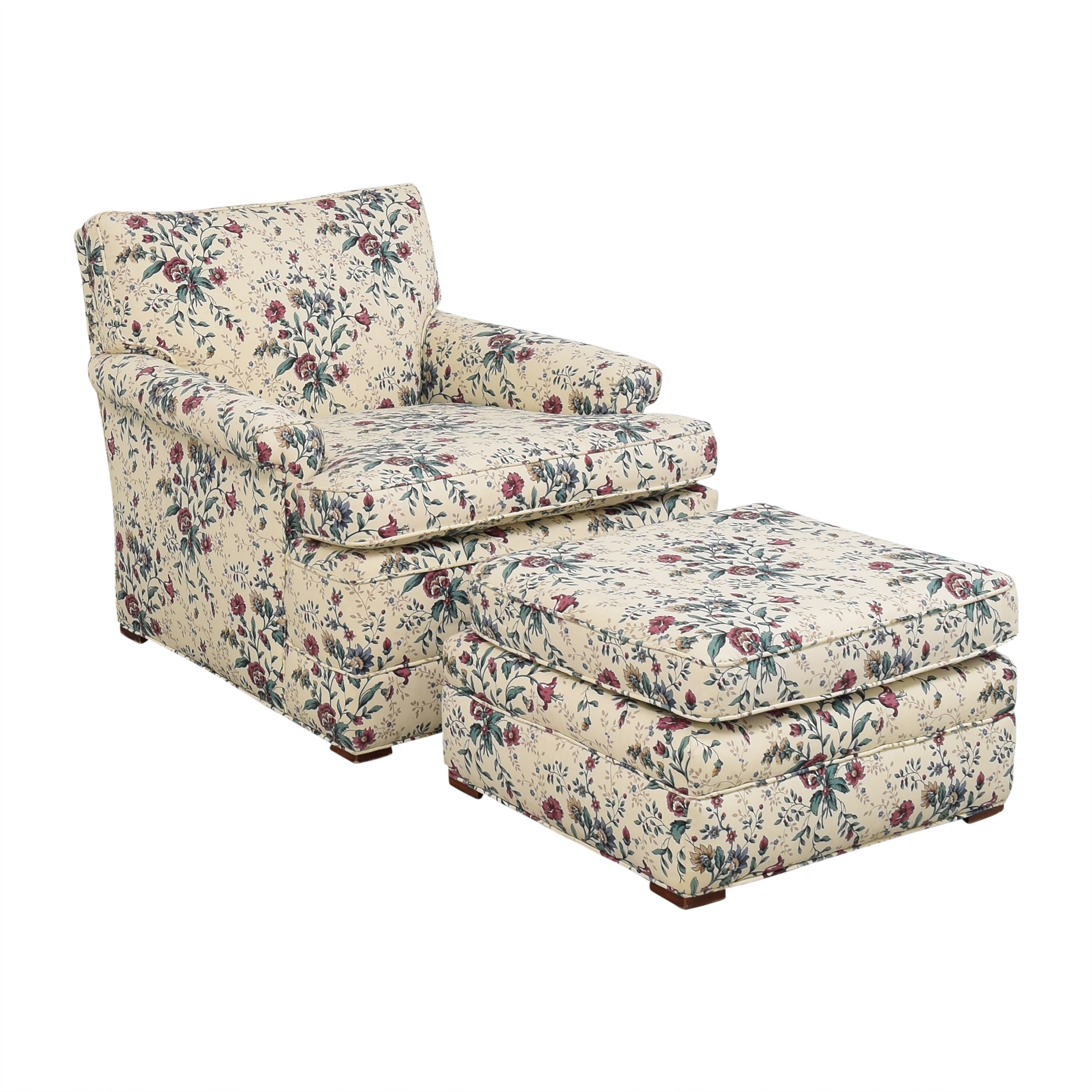 Floral Accent Chair with Ottoman ct