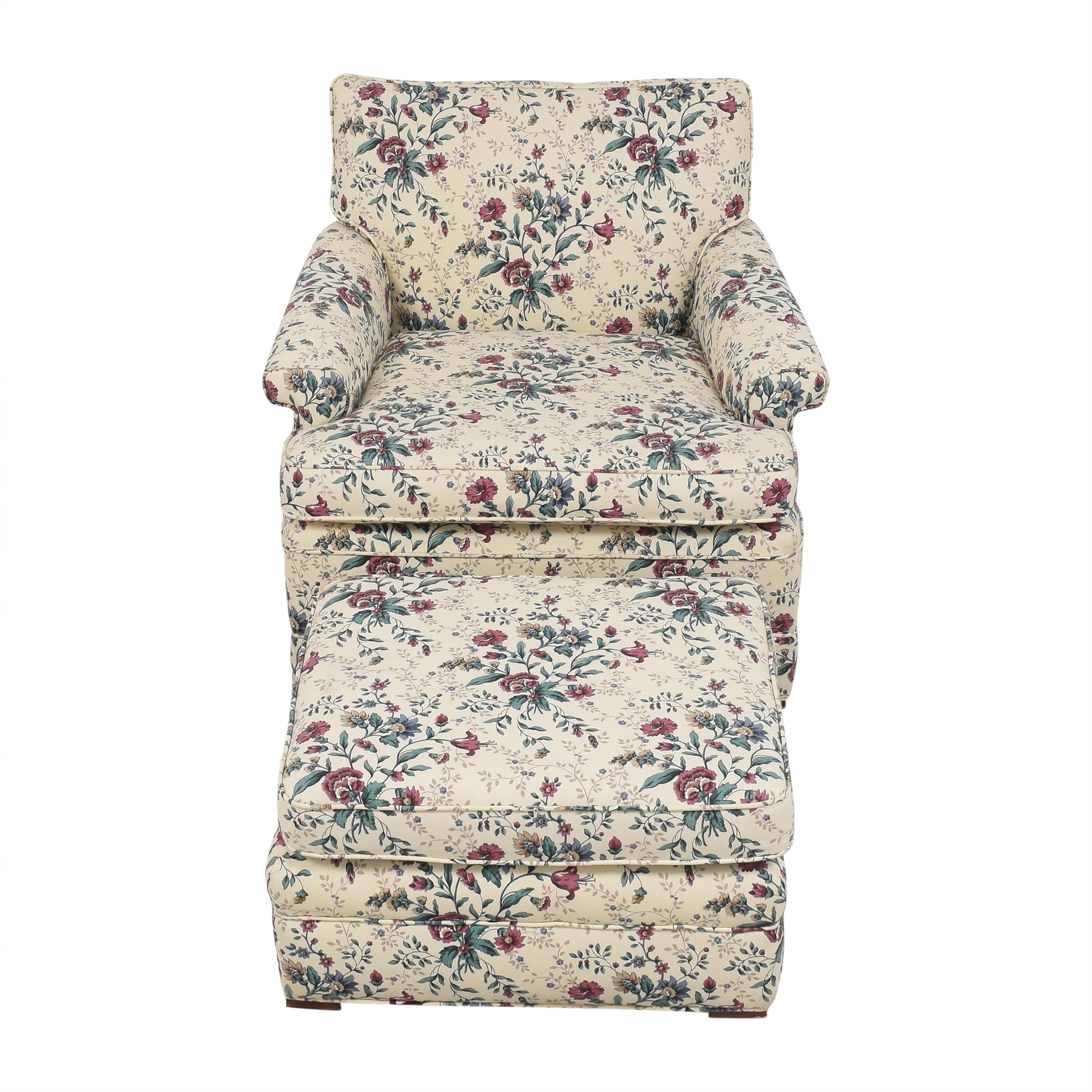 Floral Accent Chair with Ottoman second hand