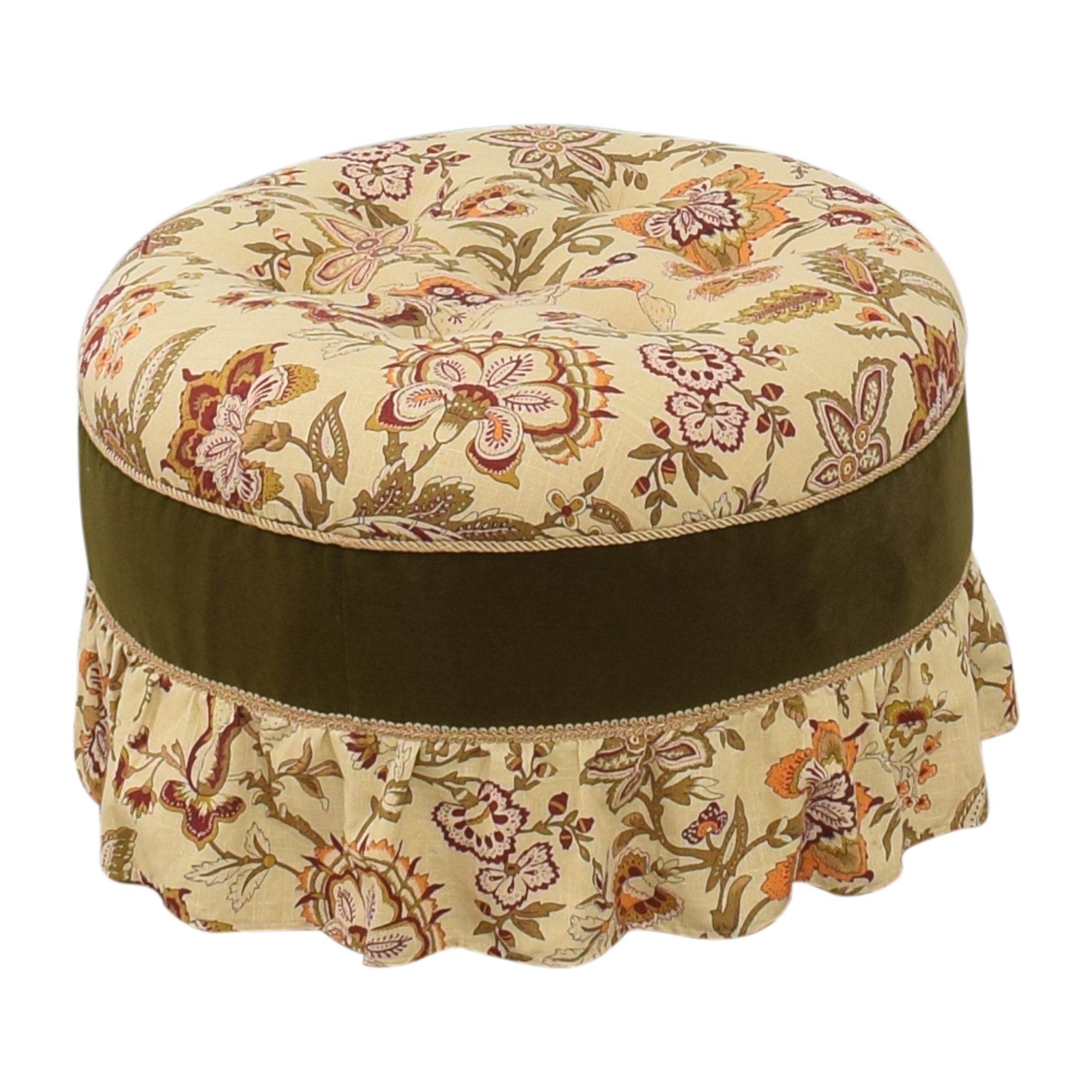 Skirted Round Ottoman multi