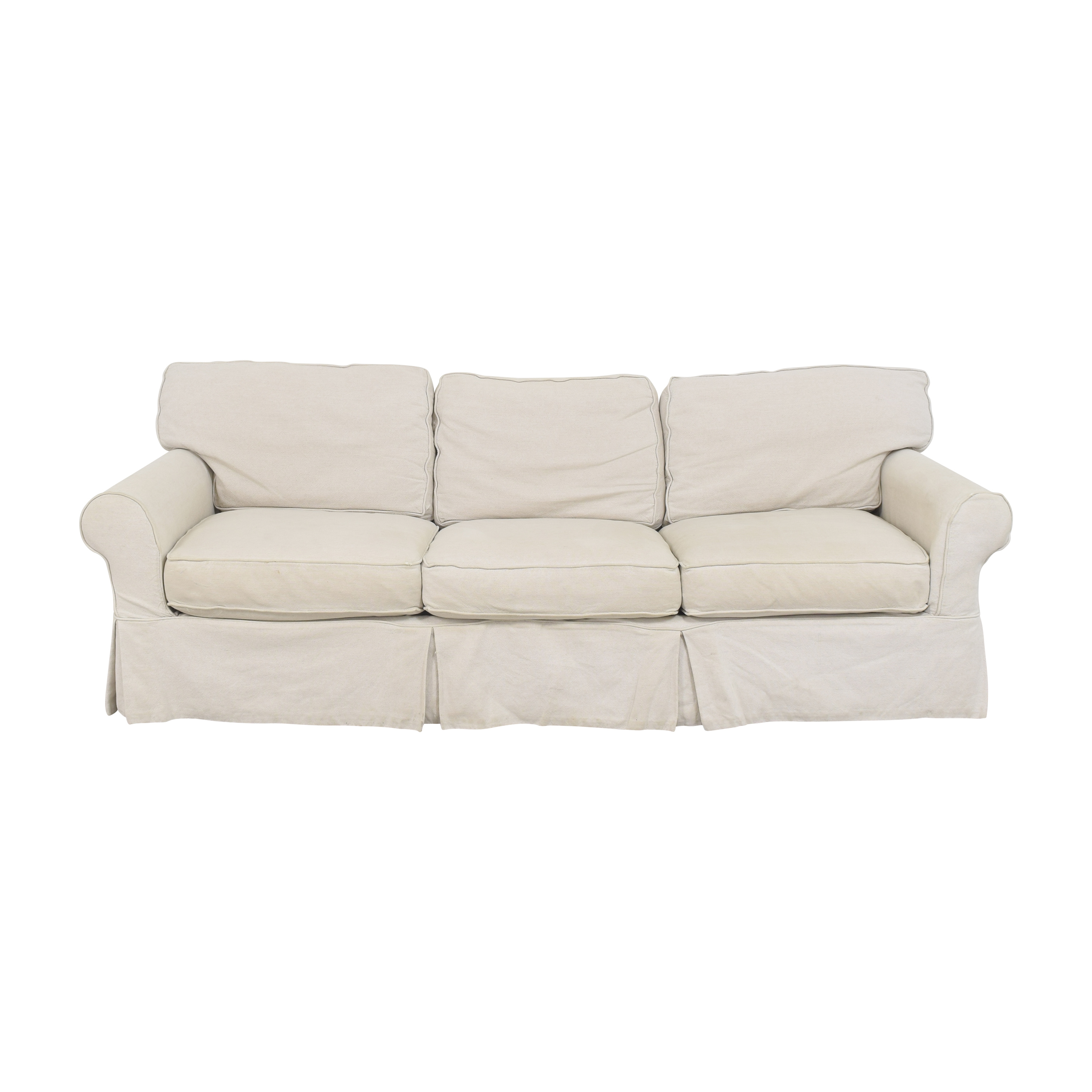 Crate & Barrel Crate & Barrel Slipcovered Roll Arm Sofa pa