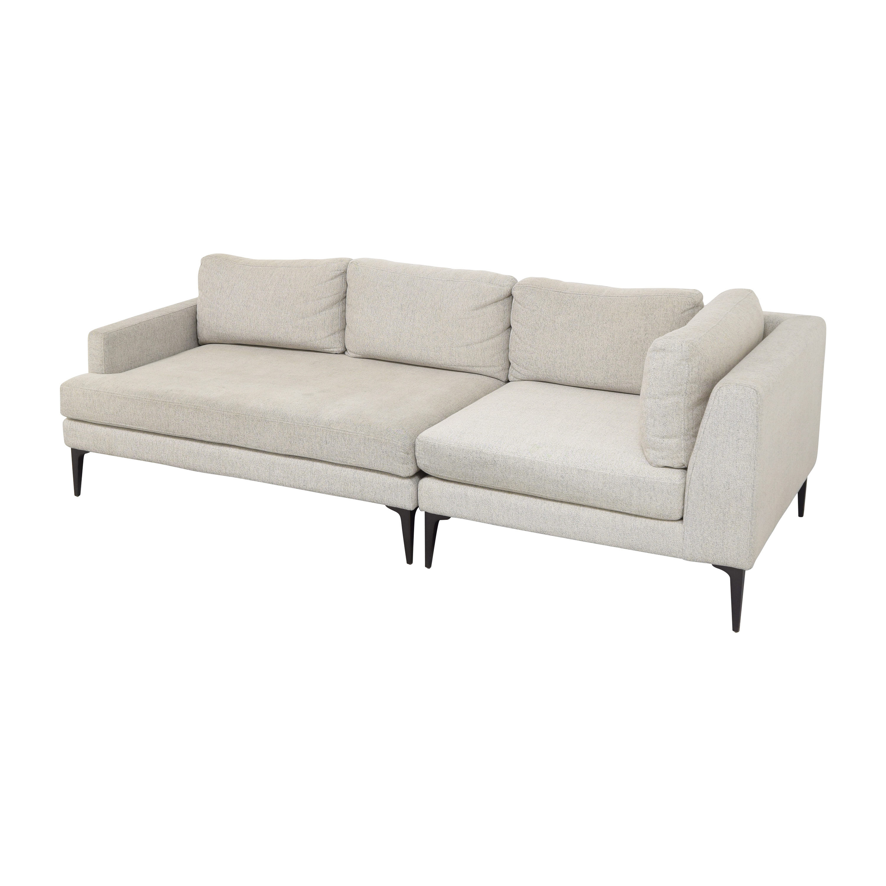West Elm Andes Three Piece Chaise Sectional Sofa / Sofas