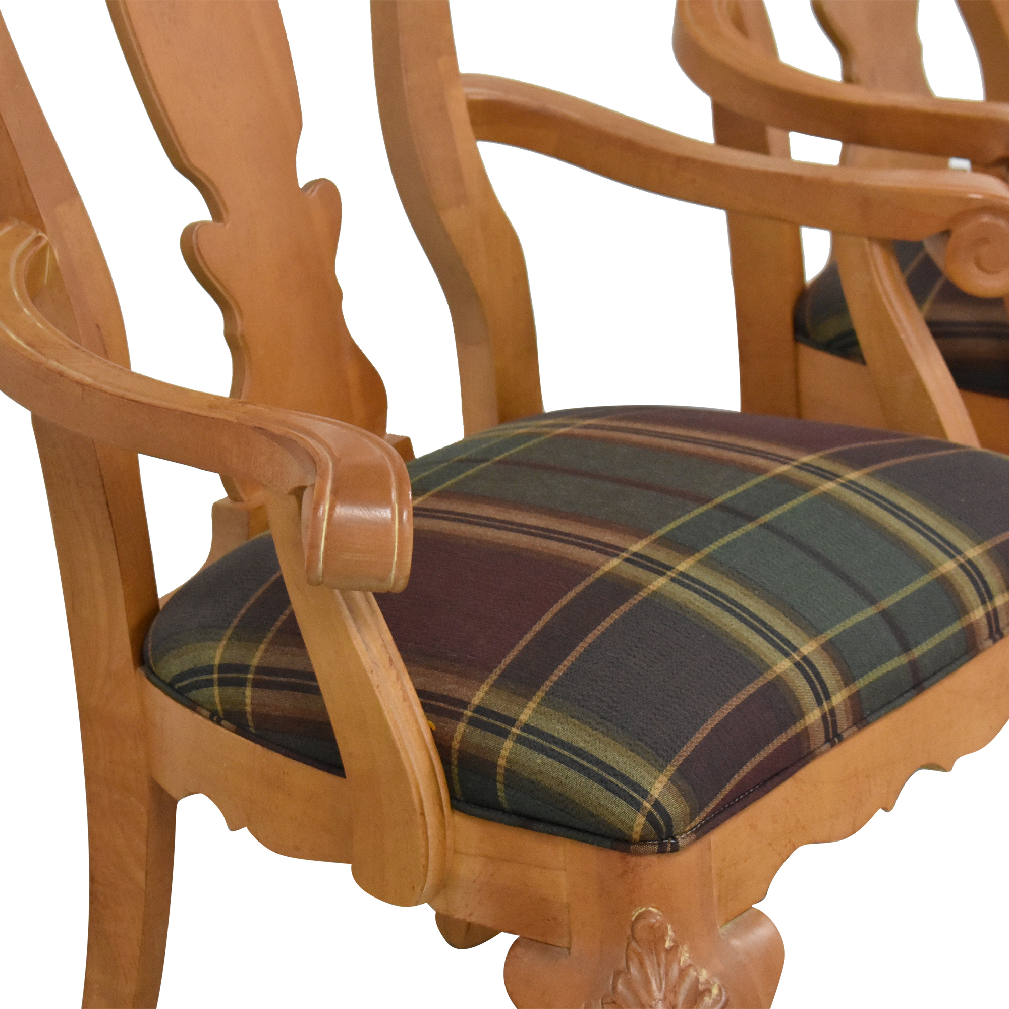 Thomasville Thomasville Plaid Upholstered Dining Arm Chairs  on sale