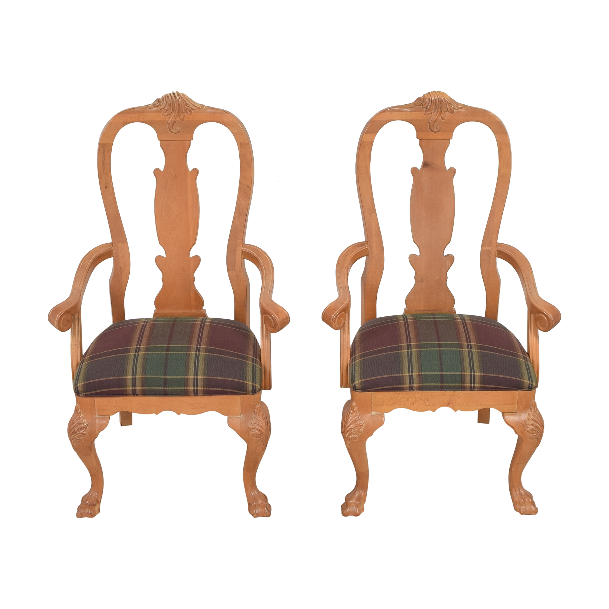 Thomasville Thomasville Plaid Upholstered Dining Arm Chairs