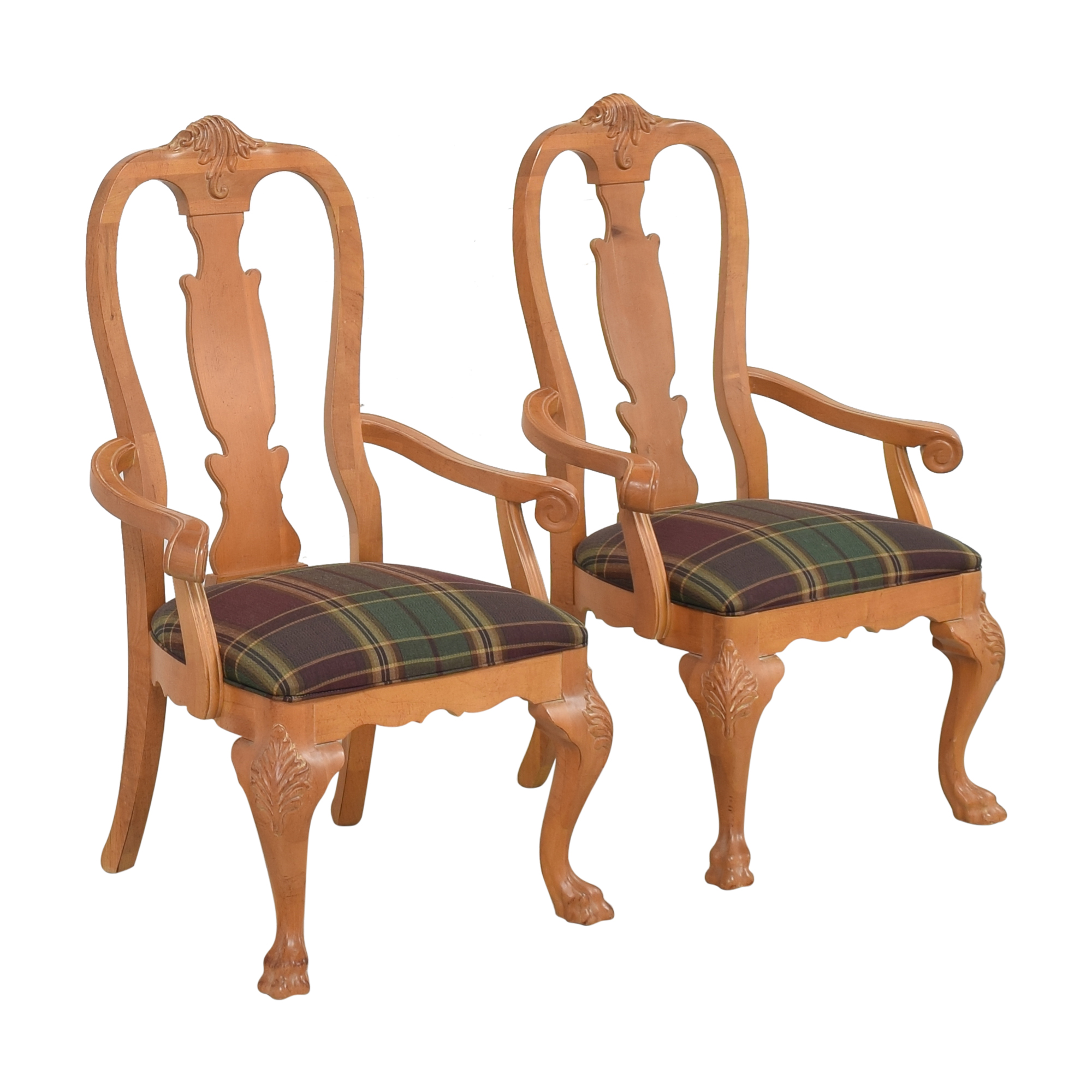 shop Thomasville Plaid Upholstered Dining Arm Chairs  Thomasville Chairs
