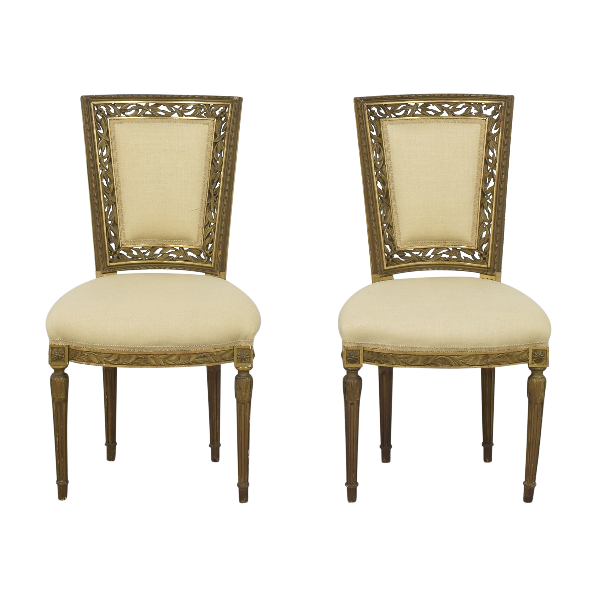 Louis XVI Style Accent Chairs gold and cream