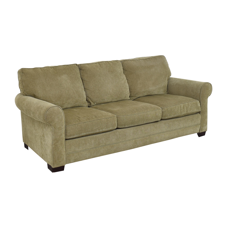 Raymour & Flanigan Three Cushion Roll Arm Sofa Raymour & Flanigan