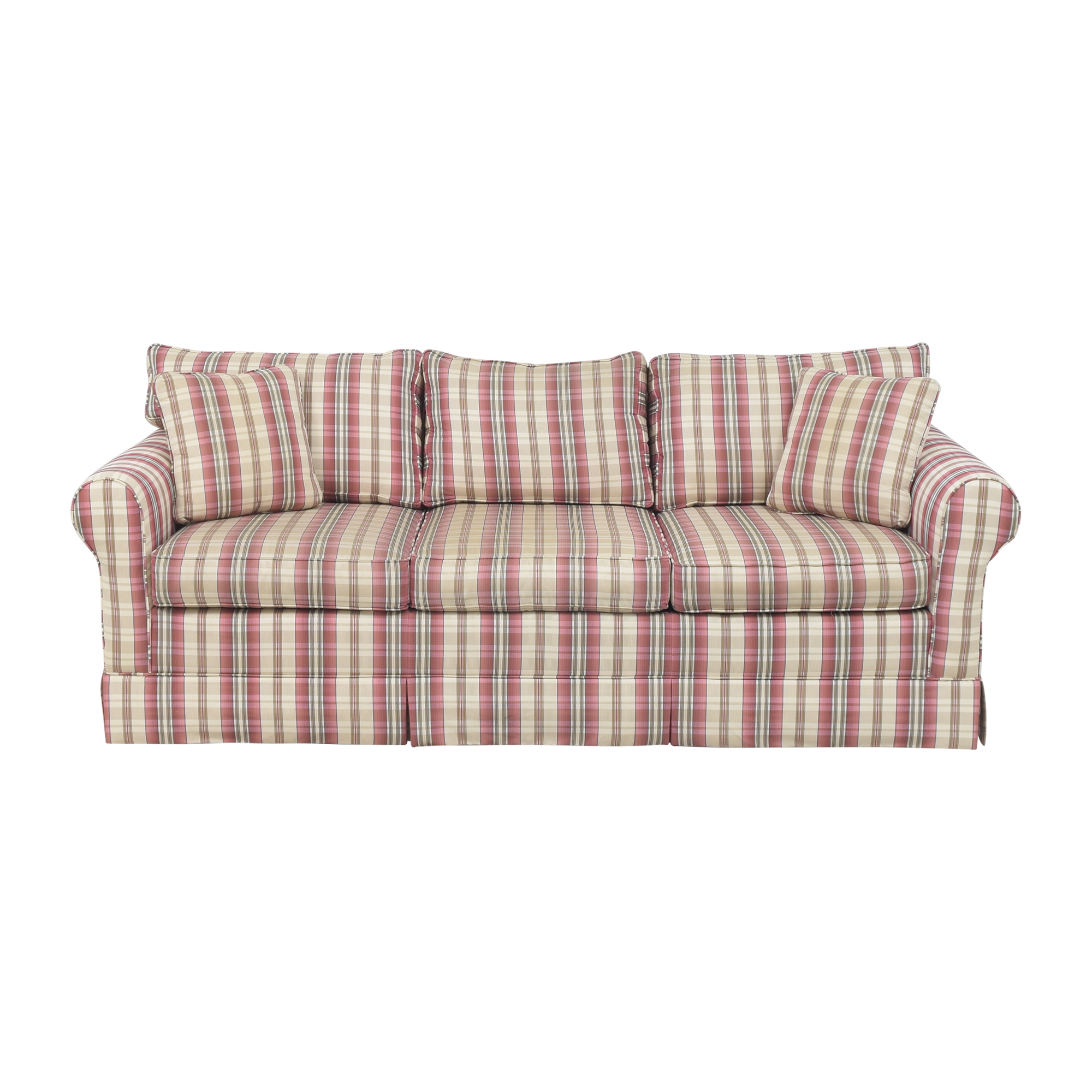 shop Choice Seating Gallery Skirted Three Cushion Sofa Choice Seating Gallery