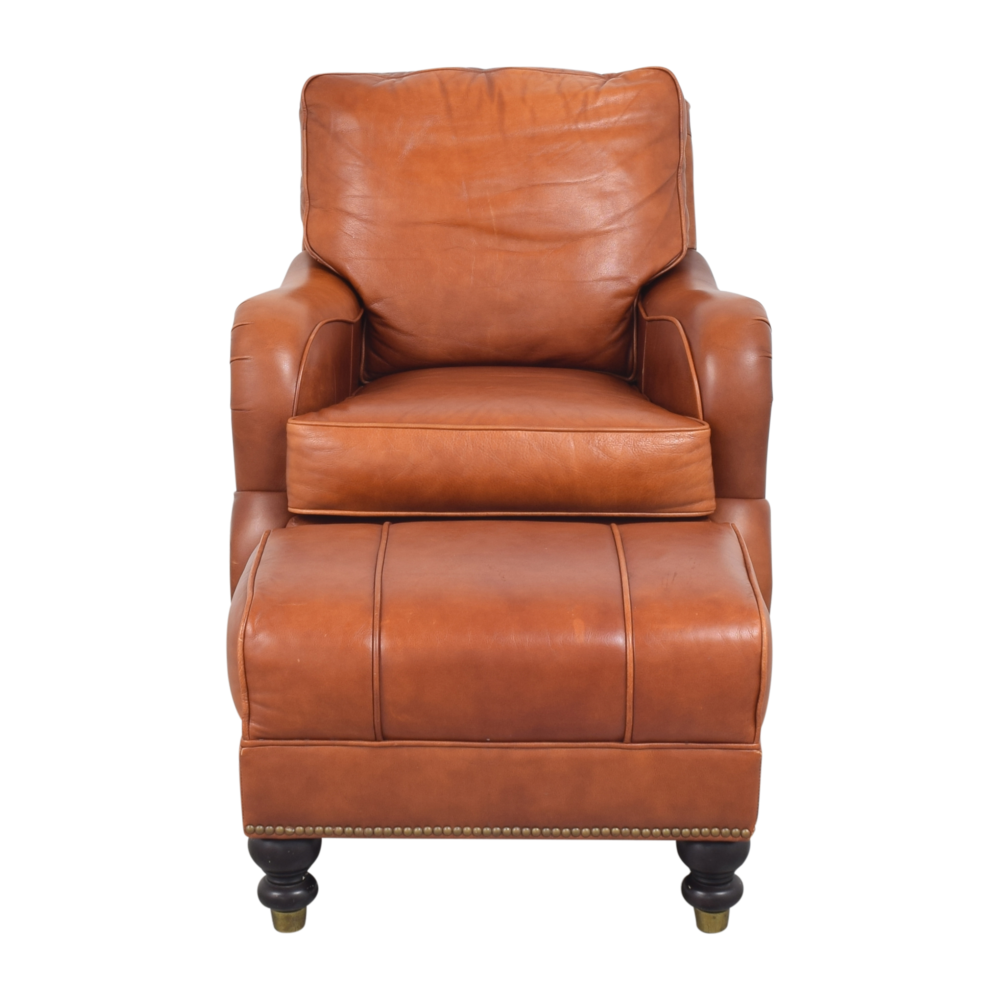 Ballard Designs Ballard Designs Arm Chair with Ottoman brown