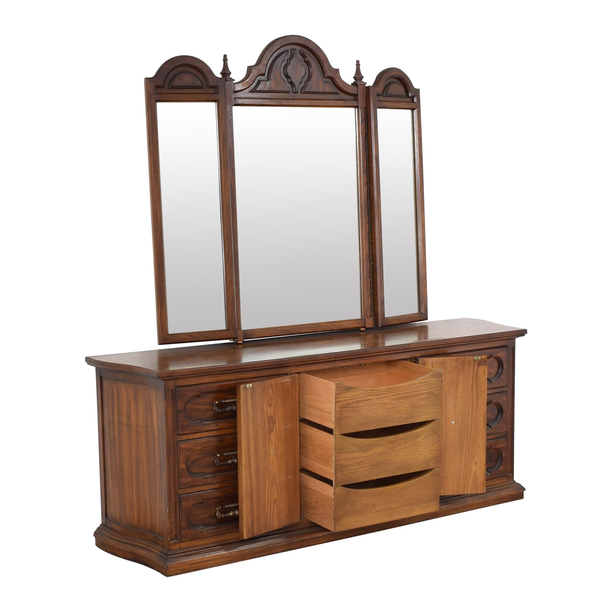 shop Vintage Triple Dresser with Trifold Mirror  Dressers