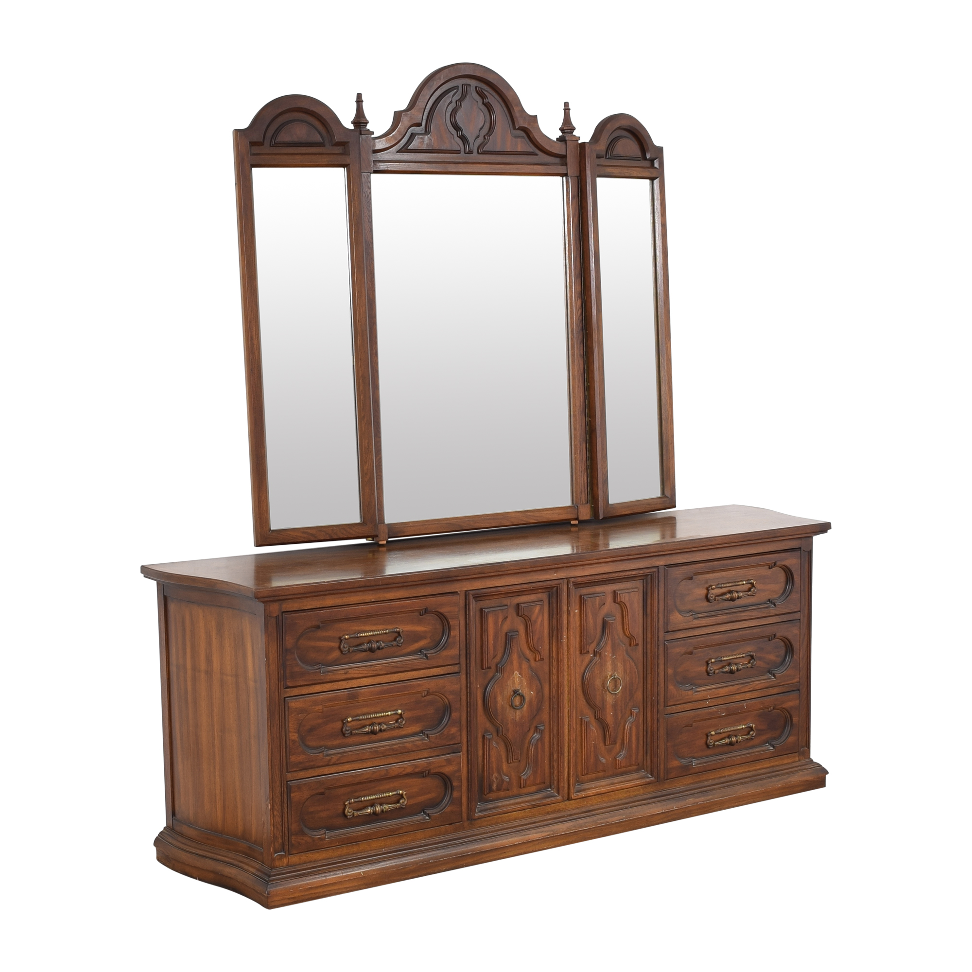Vintage Triple Dresser with Trifold Mirror coupon