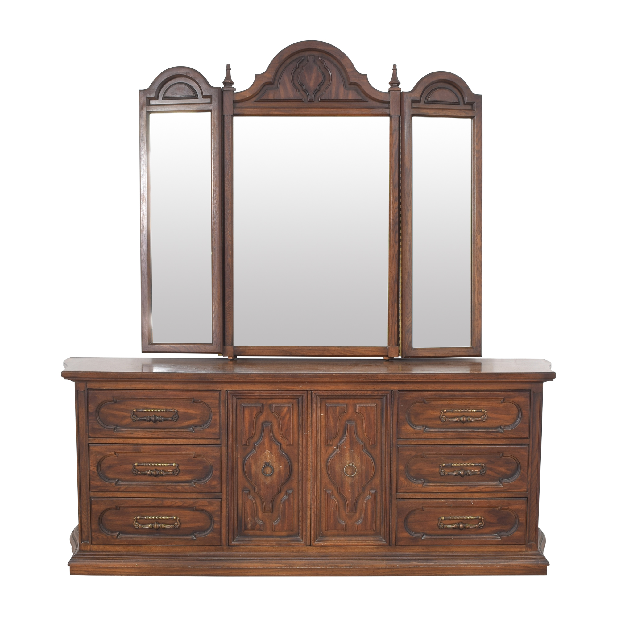 buy Vintage Triple Dresser with Trifold Mirror  Storage