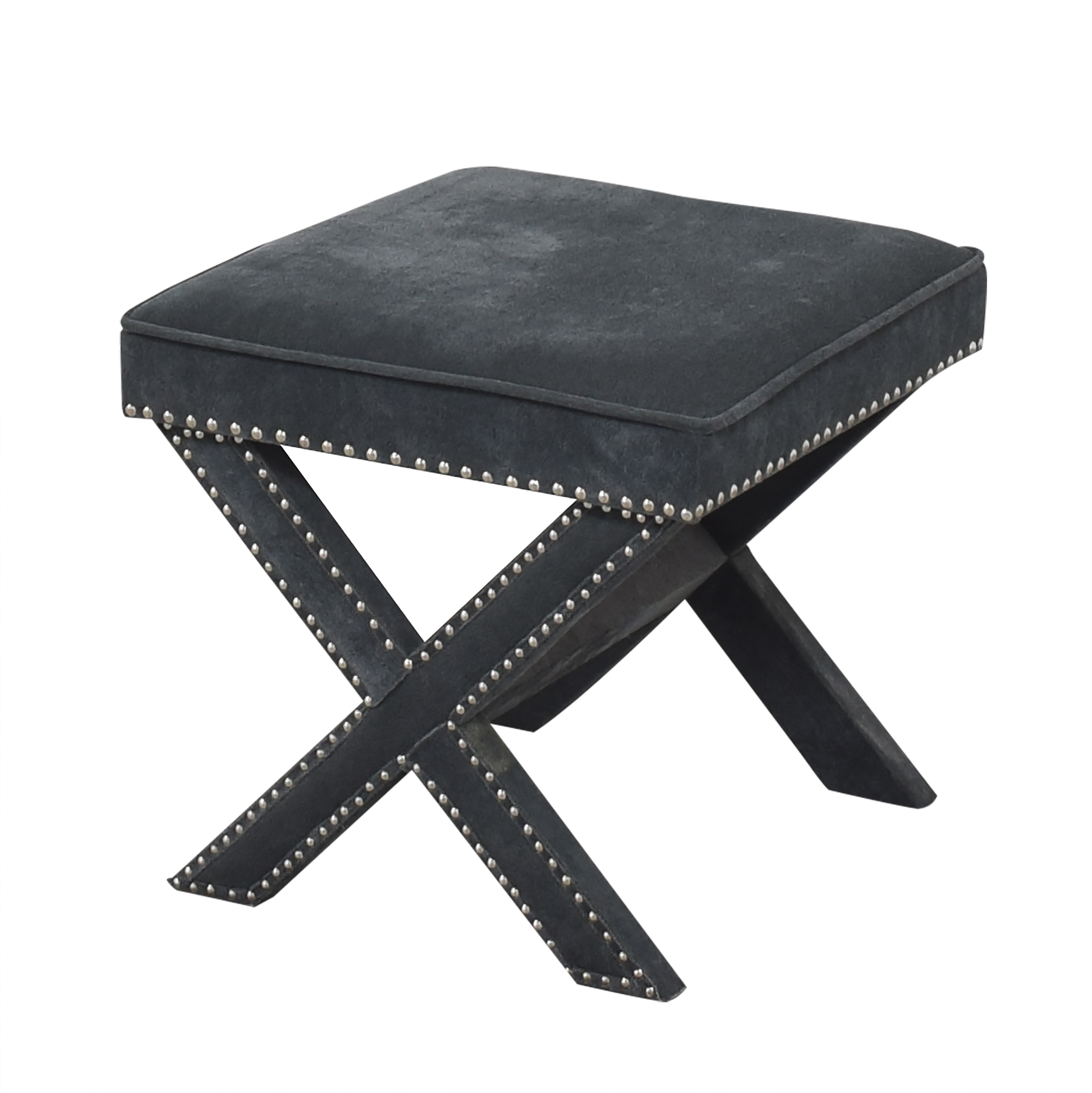 Studded X Bench Ottoman used