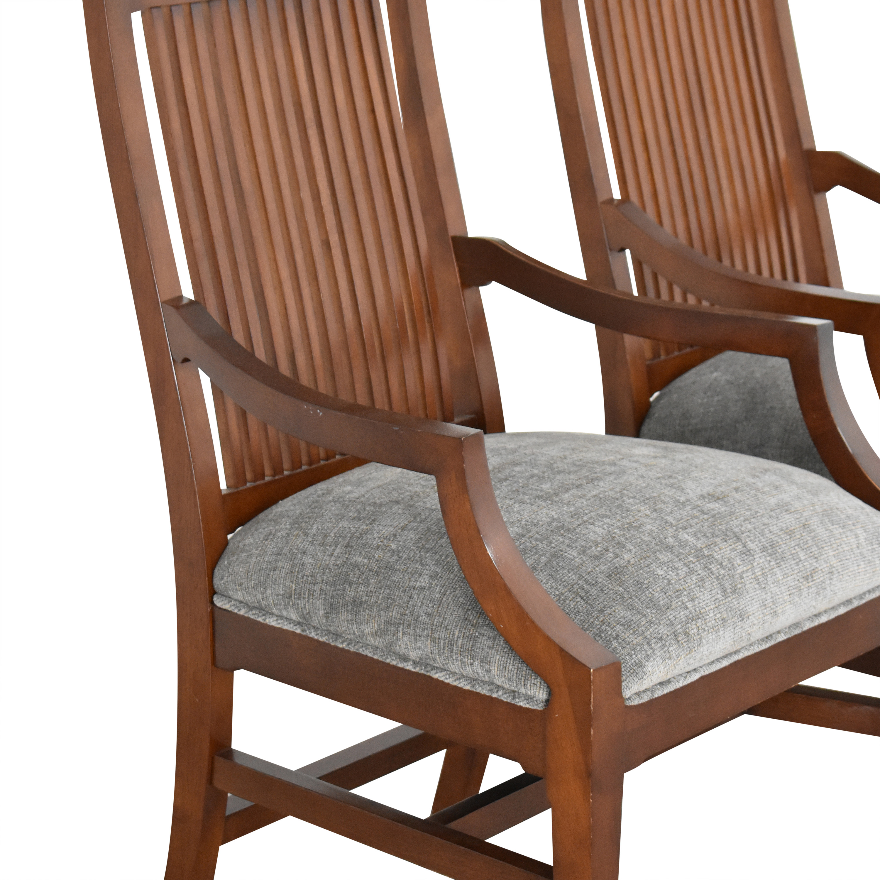 Raymour & Flanigan Raymour & Flanigan Dining Armchairs by Bernhardt dark brown and gray